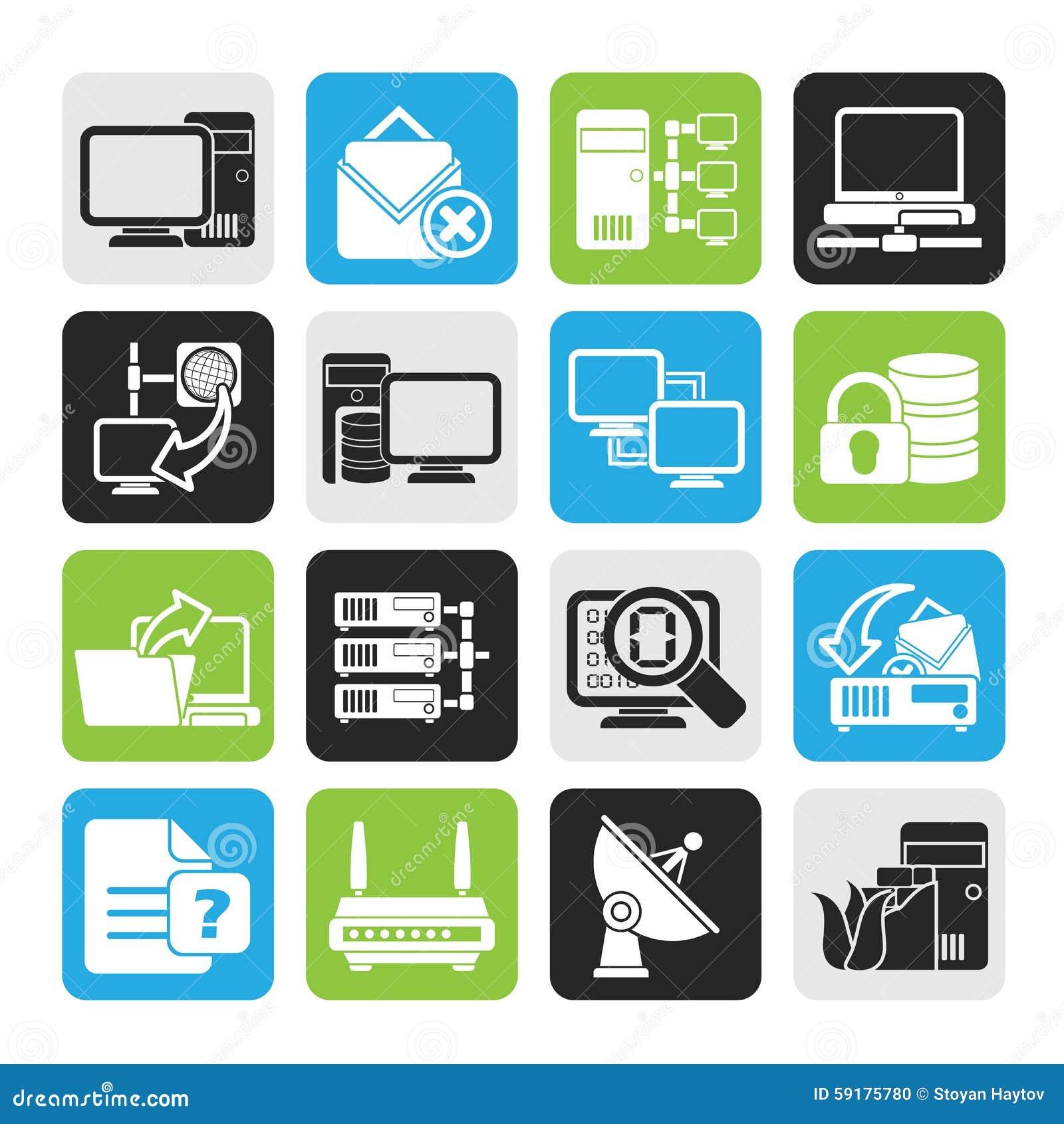 Icone della rete di computer e di Internet della siluetta