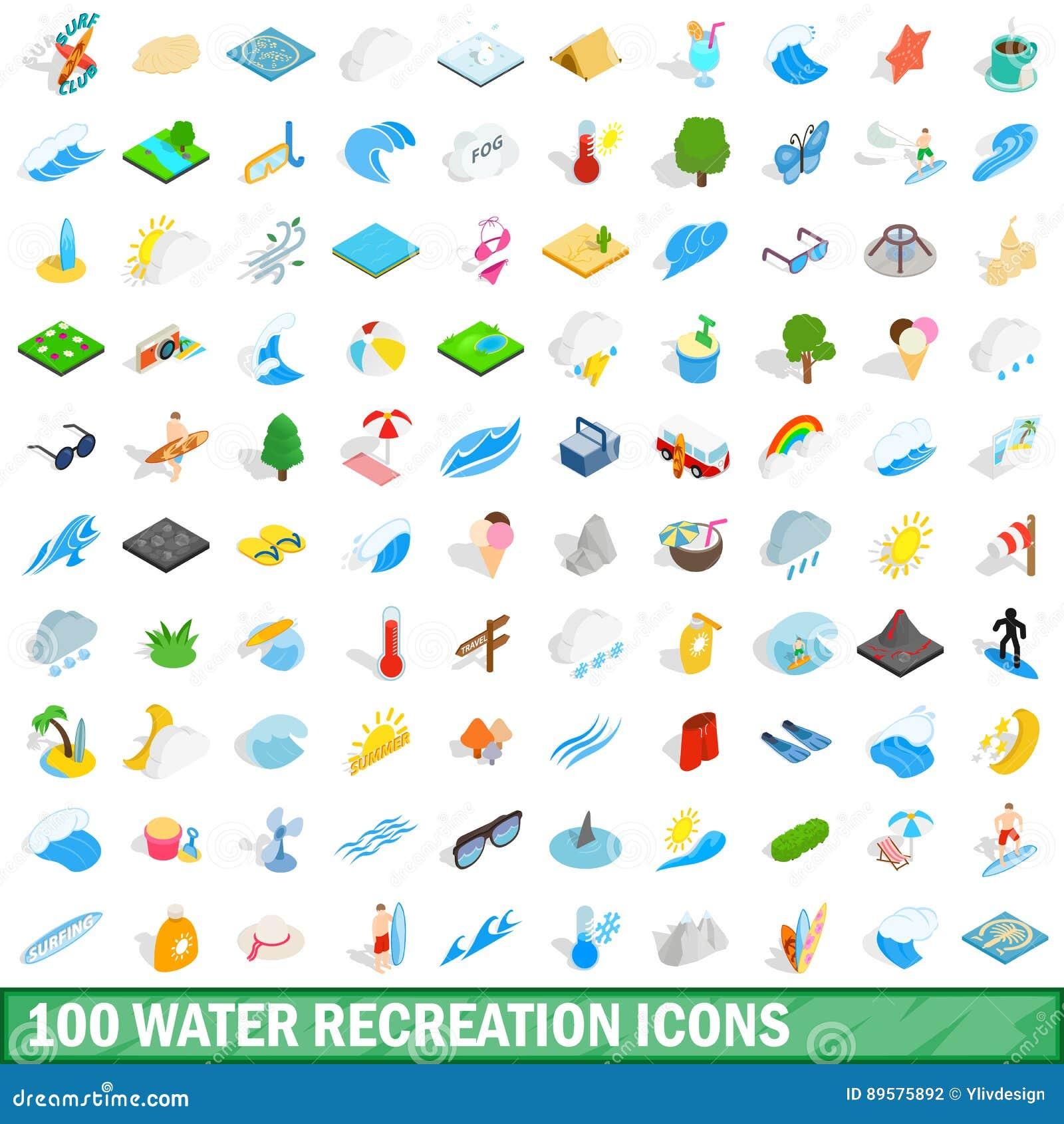 100 icone della ricreazione dell acqua hanno messo, stile isometrico 3d