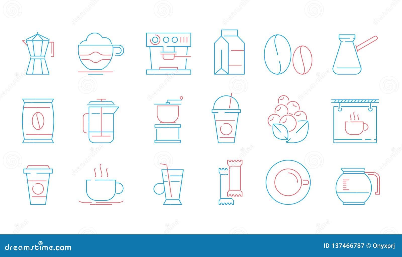 Icone della tazza di caffè Bevande calde tè e simboli lineari di vettore dell alimento del dolce del vaso della tazza e della taz