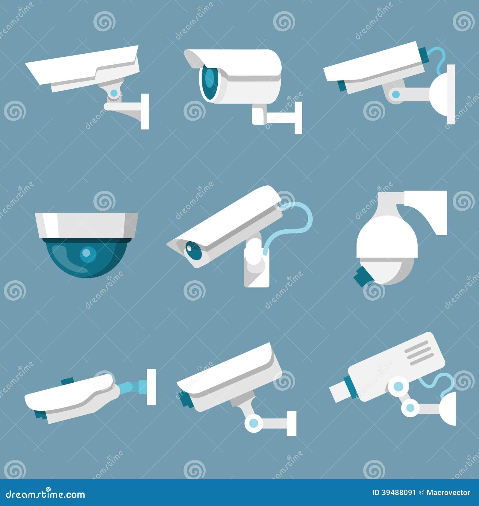 Icone delle videocamere di sicurezza messe