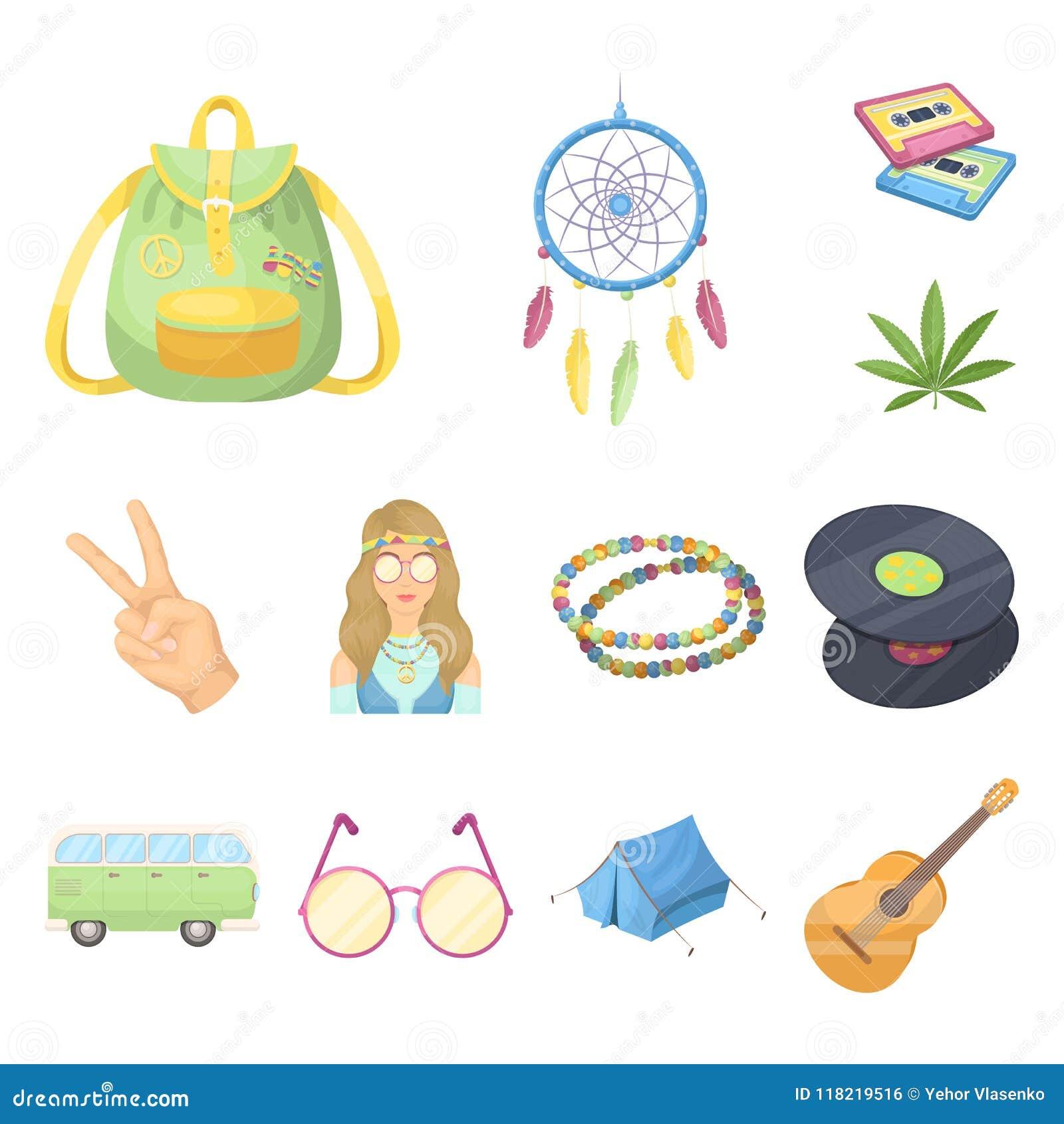 Icone di attributo e felici del fumetto nella raccolta dell insieme per progettazione Web degli accessori e felice di vettore di