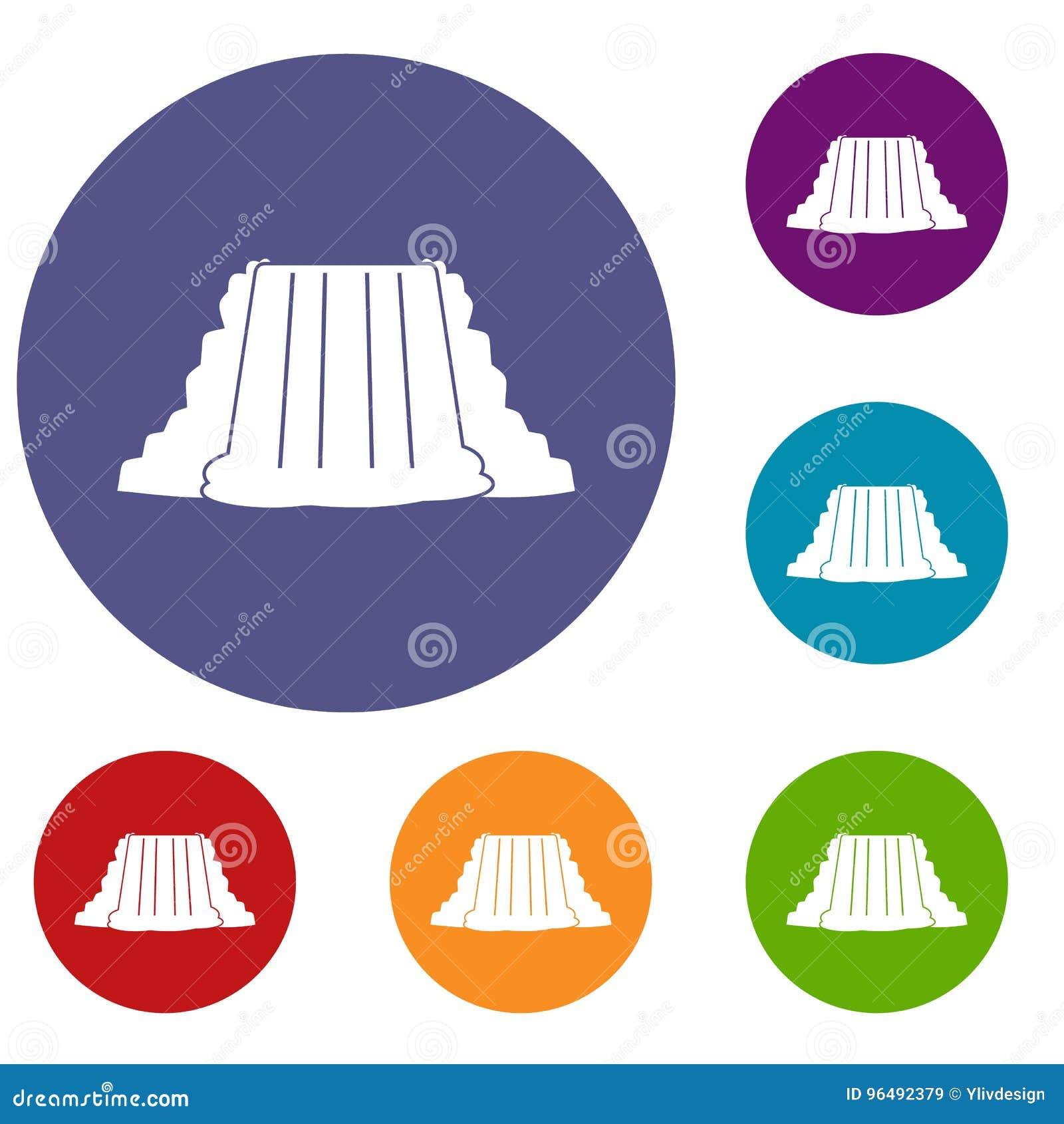 Icone di cascate del Niagara messe