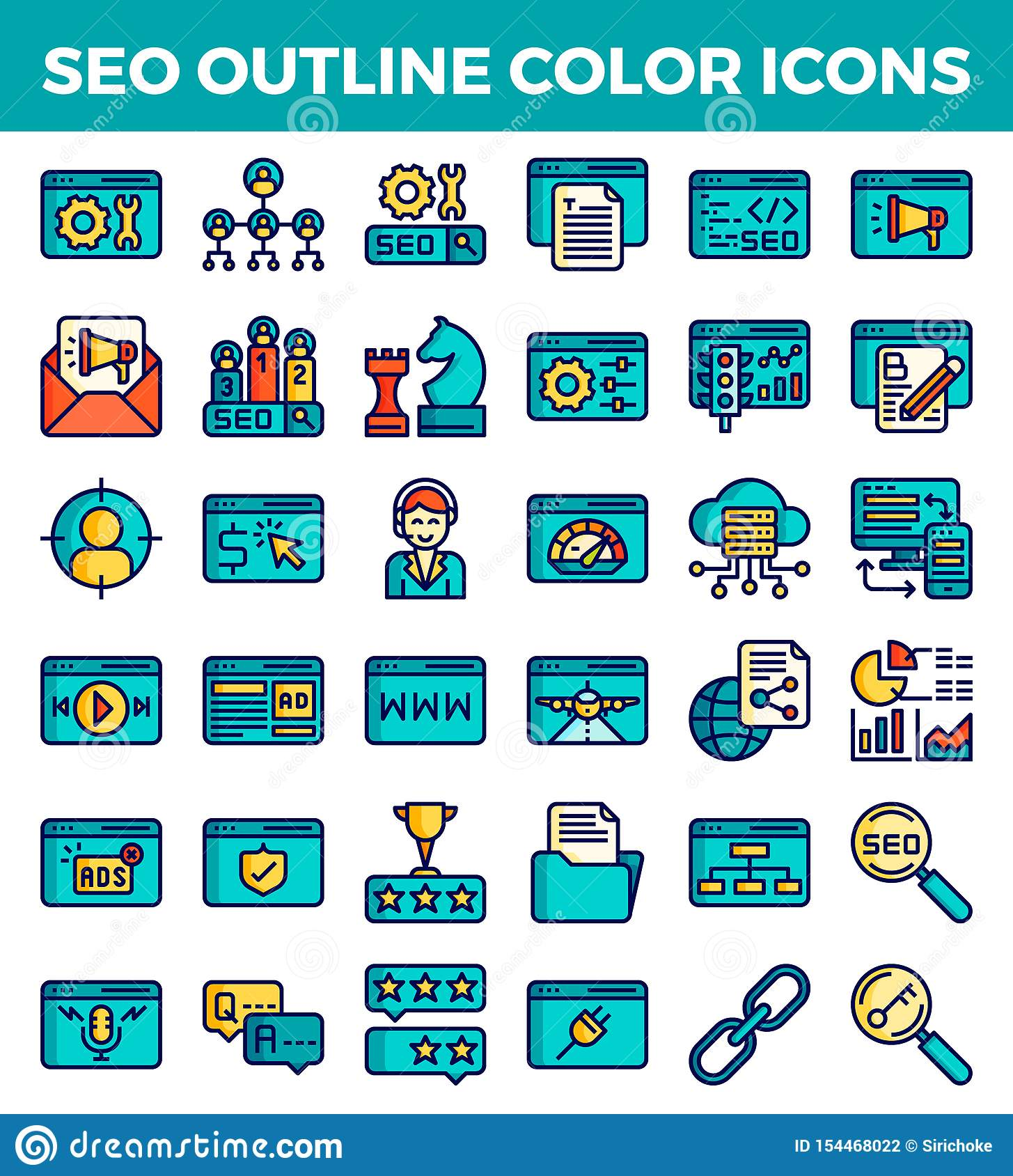Icone di colore del profilo di ottimizzazione del motore di SEO Search Illustrazione di vettore