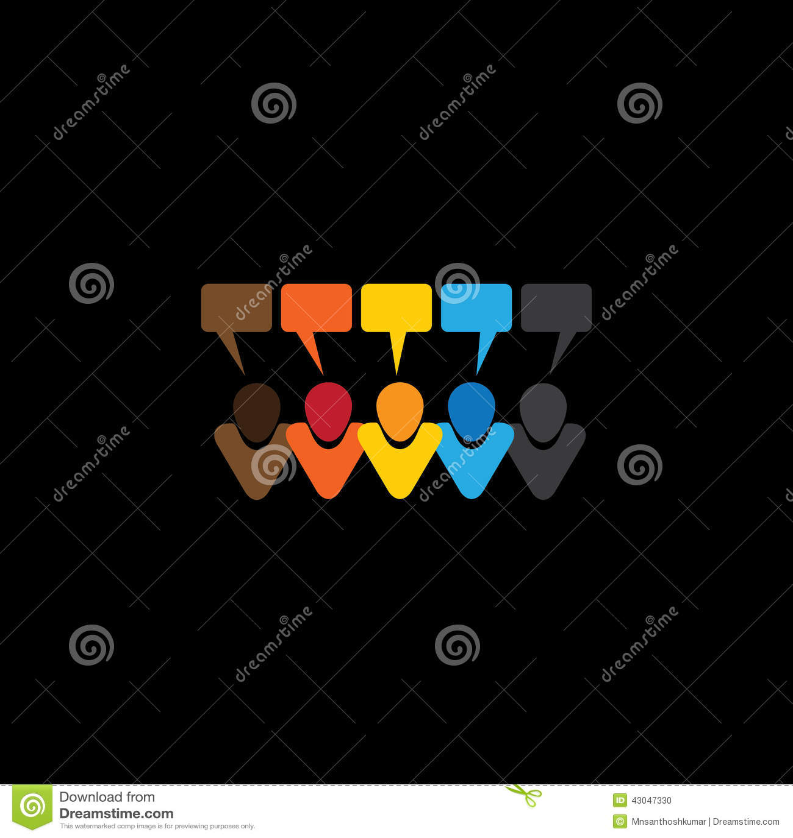 Icone di conversazione della gente o osservazioni & chiacchierate online - concetto v