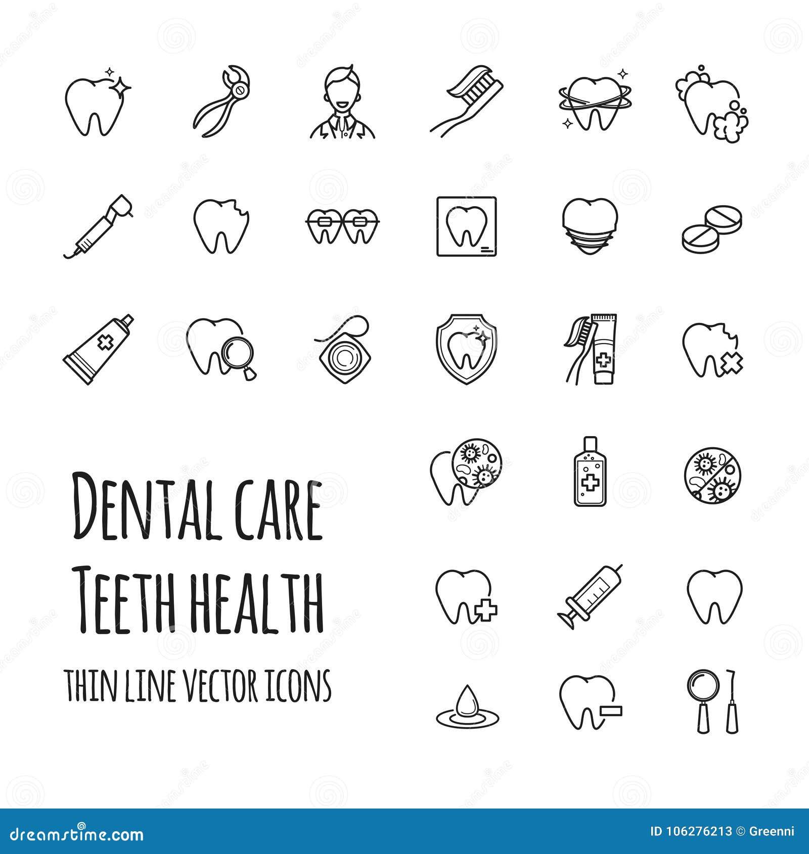 Icone di cure odontoiatriche di vettore messe Linea sottile icone di salute dei denti, odontoiatria, medicina
