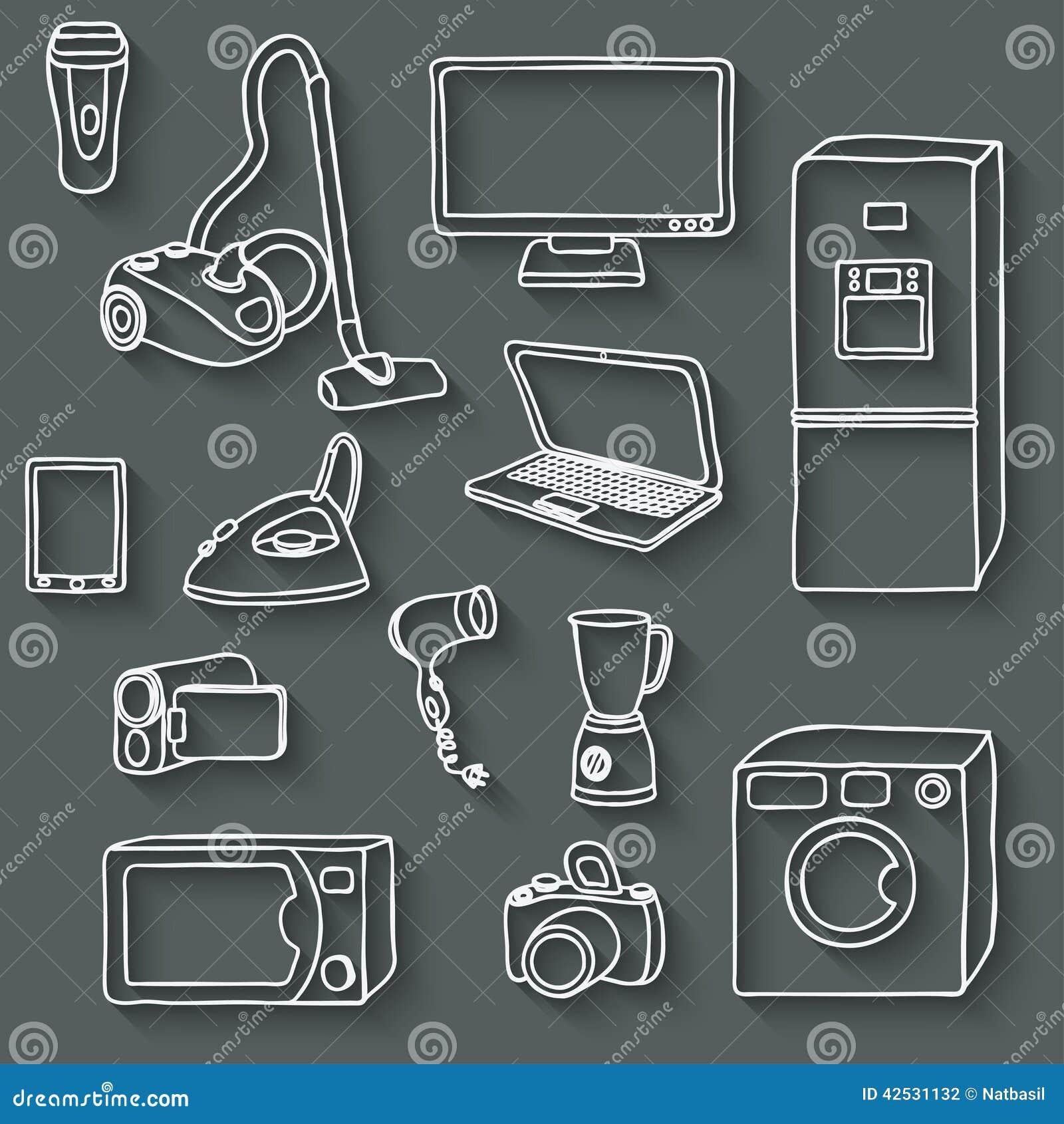 Icone di elettronica impostate