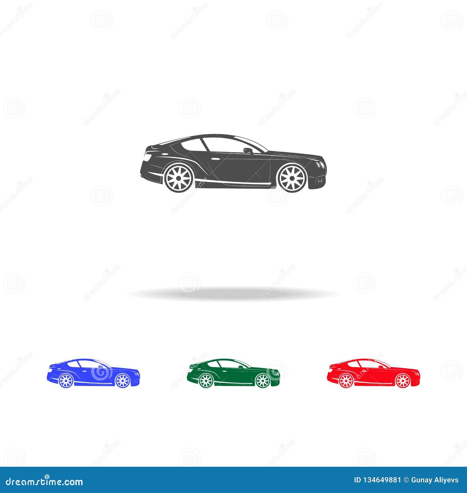 Icone di lusso dell automobile sportiva Elementi dell elemento di trasporto nelle multi icone colorate Icona premio di progettazi