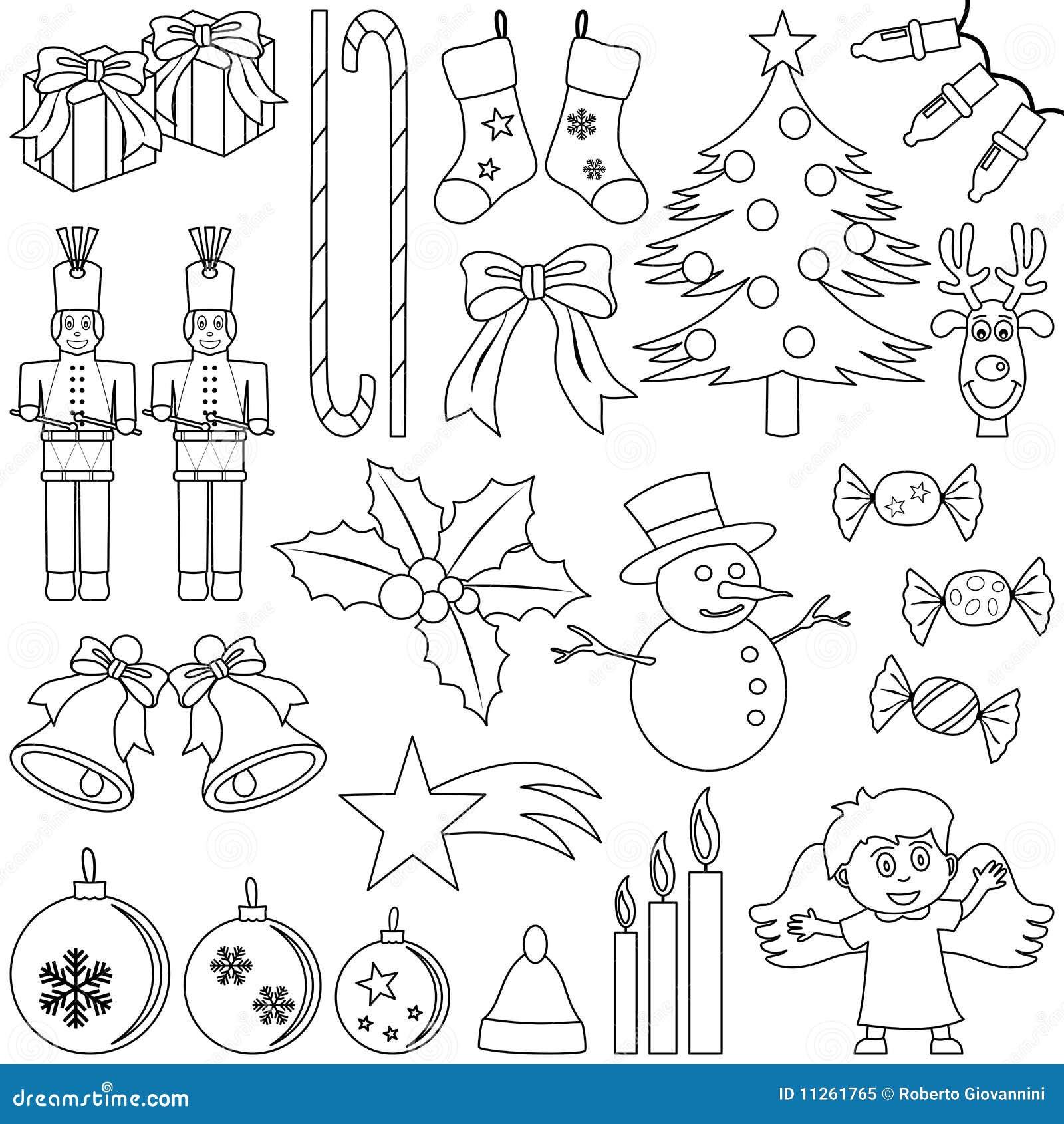 I Simboli Del Natale.Icone Di Natale Di Coloritura Illustrazione Vettoriale
