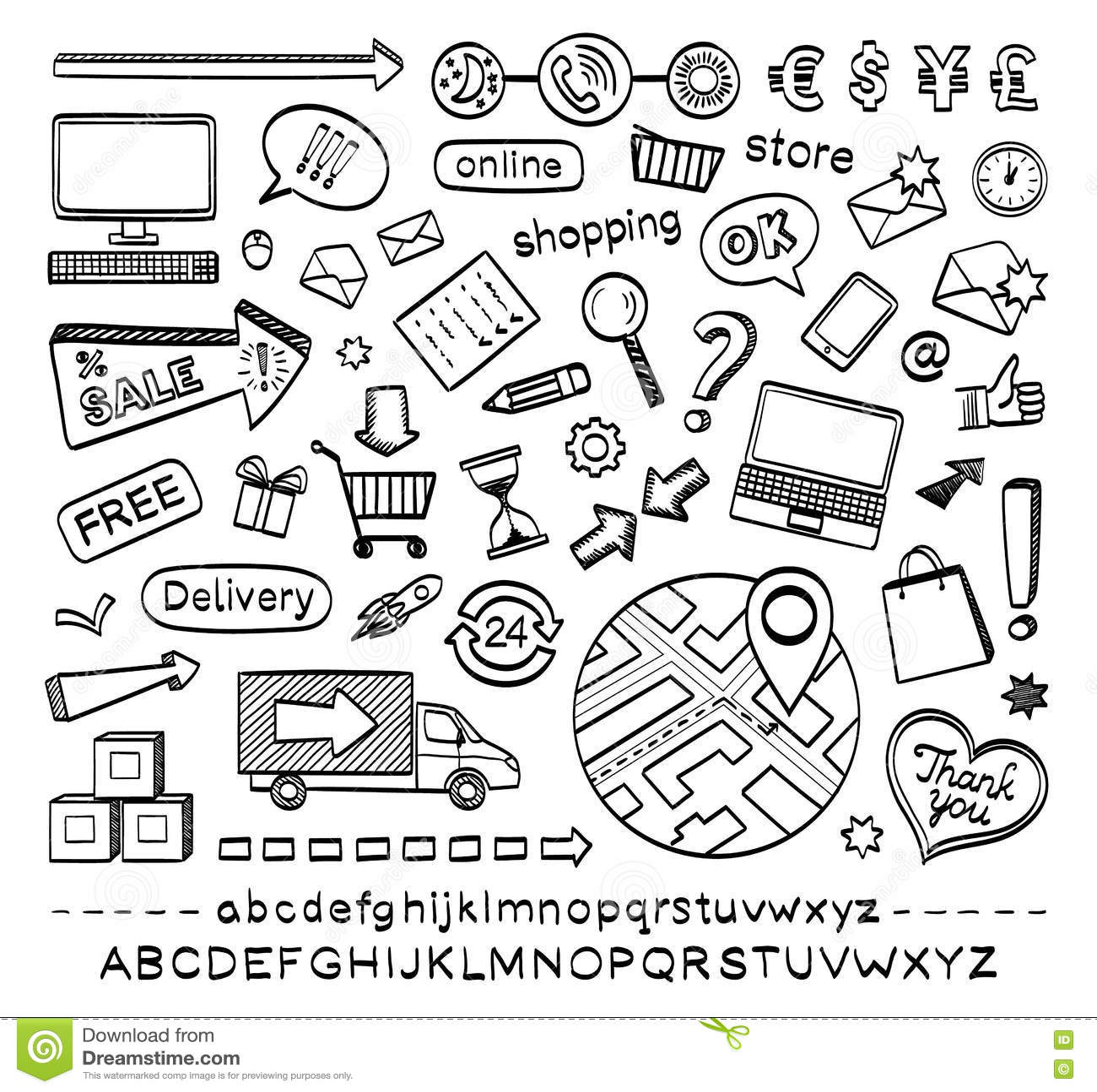 Icone di schizzo di commercio elettronico