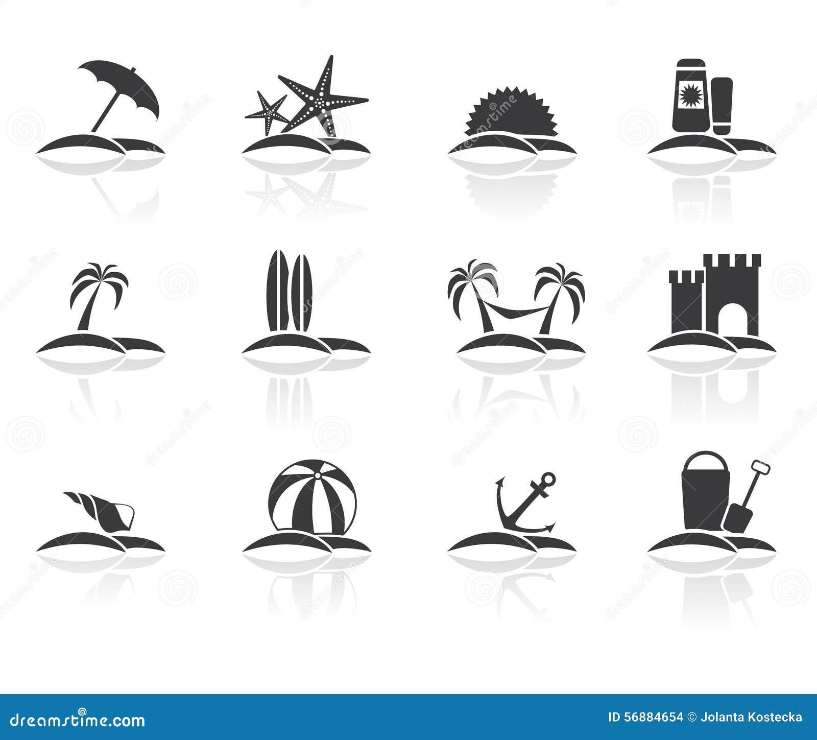 Icone di vacanza della spiaggia messe