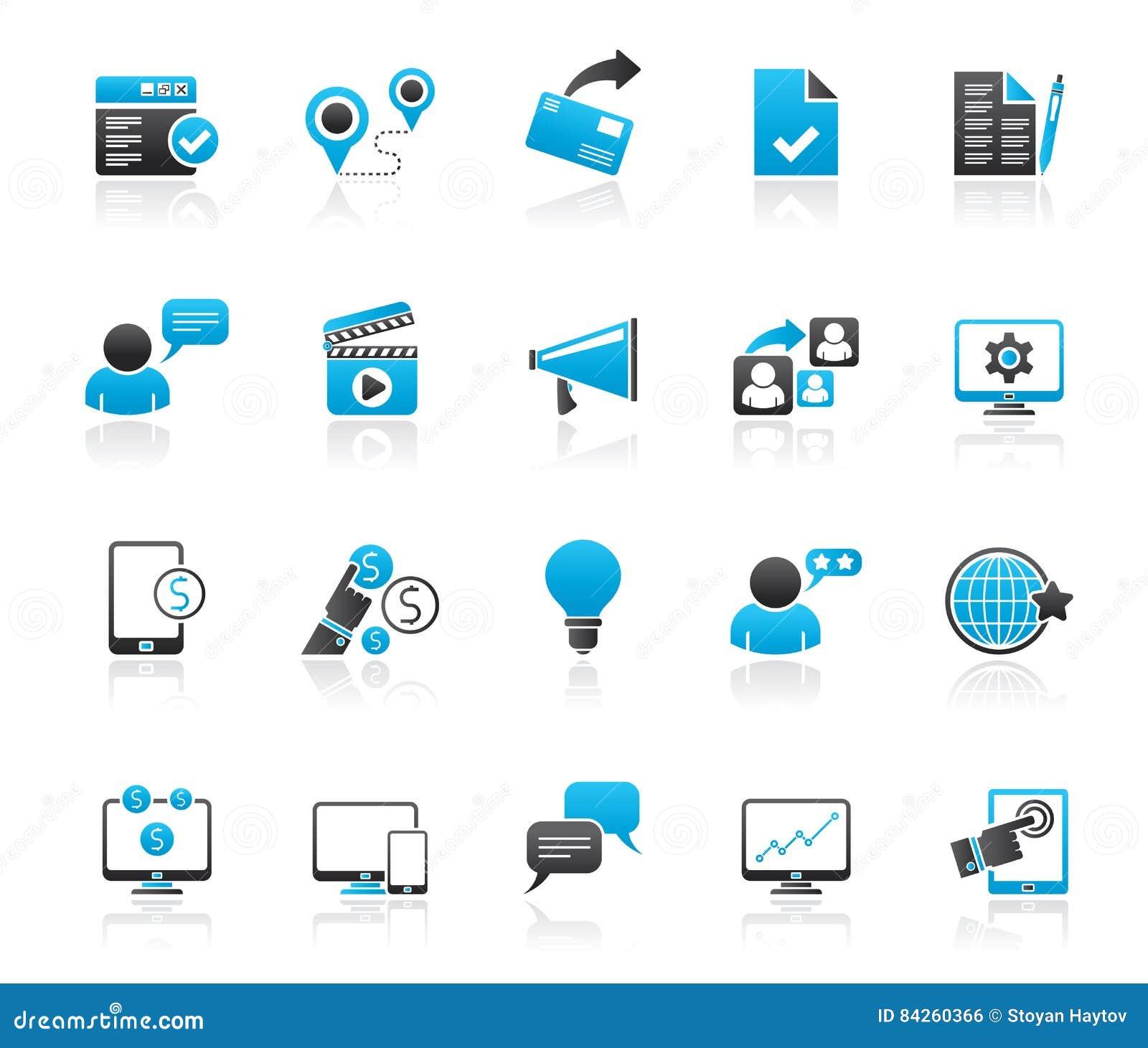 Icone di vendita e di commercio di Internet