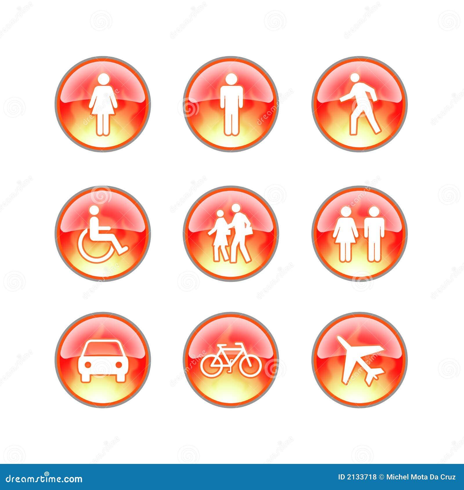 Icone di vetro del fuoco di Web site
