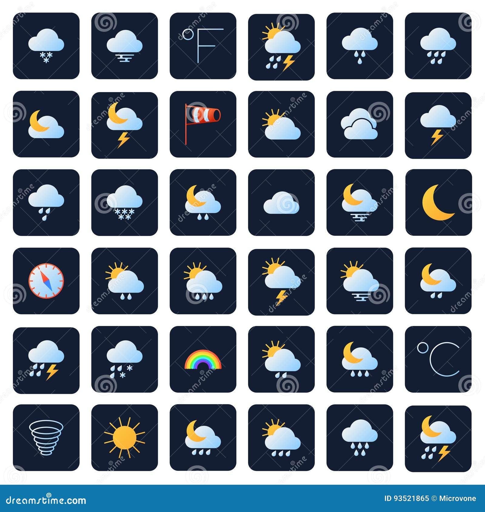 Icone di vettore di previsioni del tempo Simboli di meteo e di clima