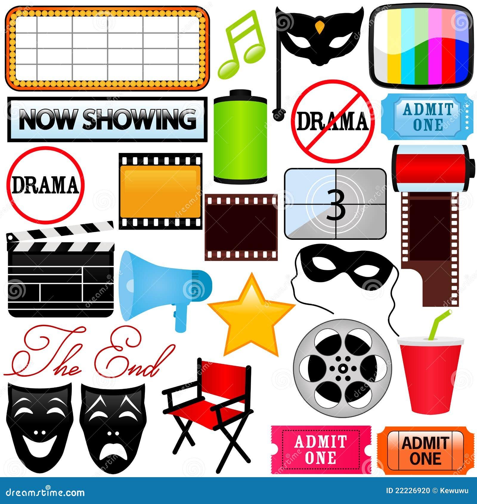 Icone di vettore: Dramma, intrattenimento, pellicola, film