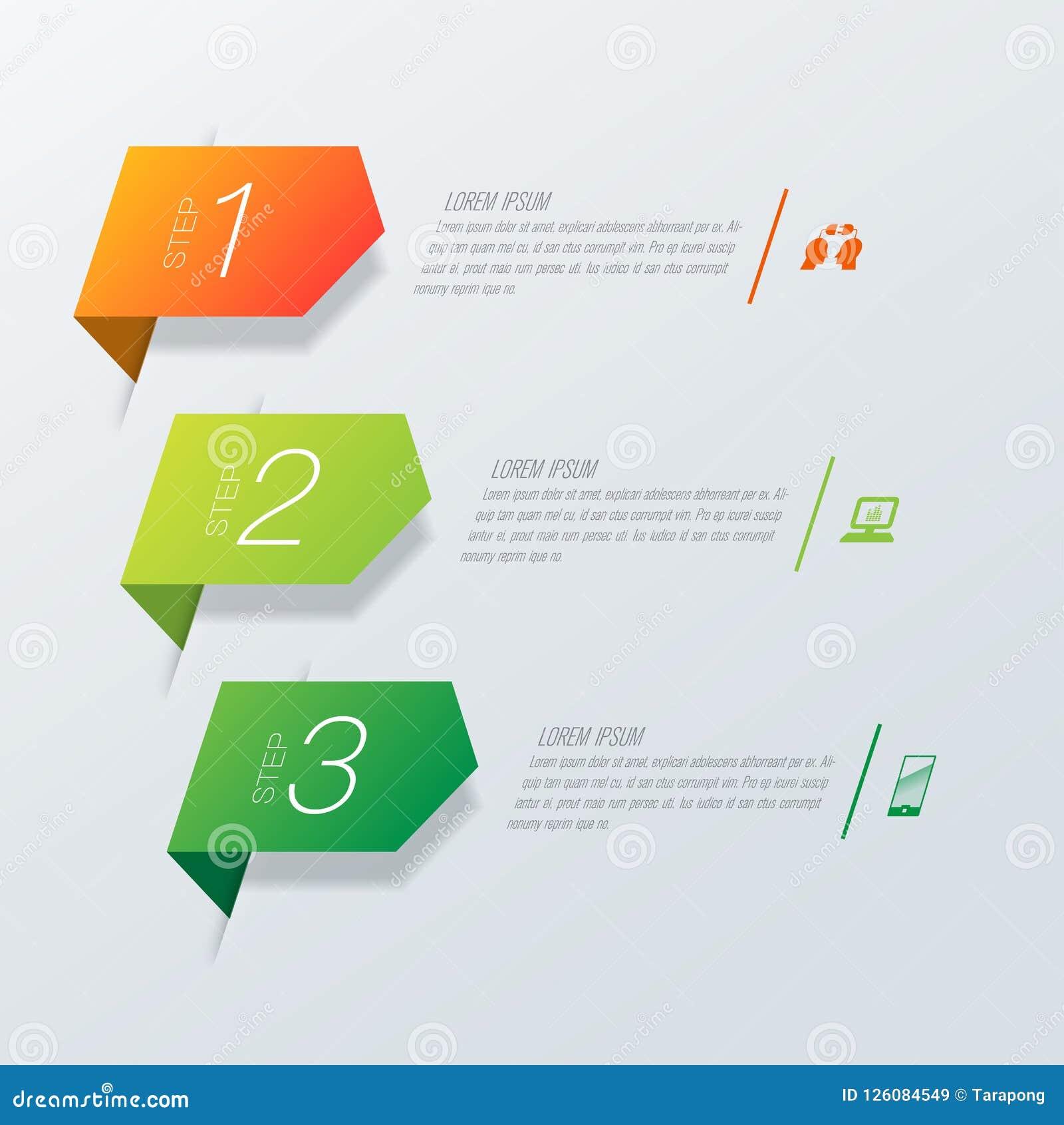 Icone di vettore e di affari di progettazione di Infographics con 3 opzioni