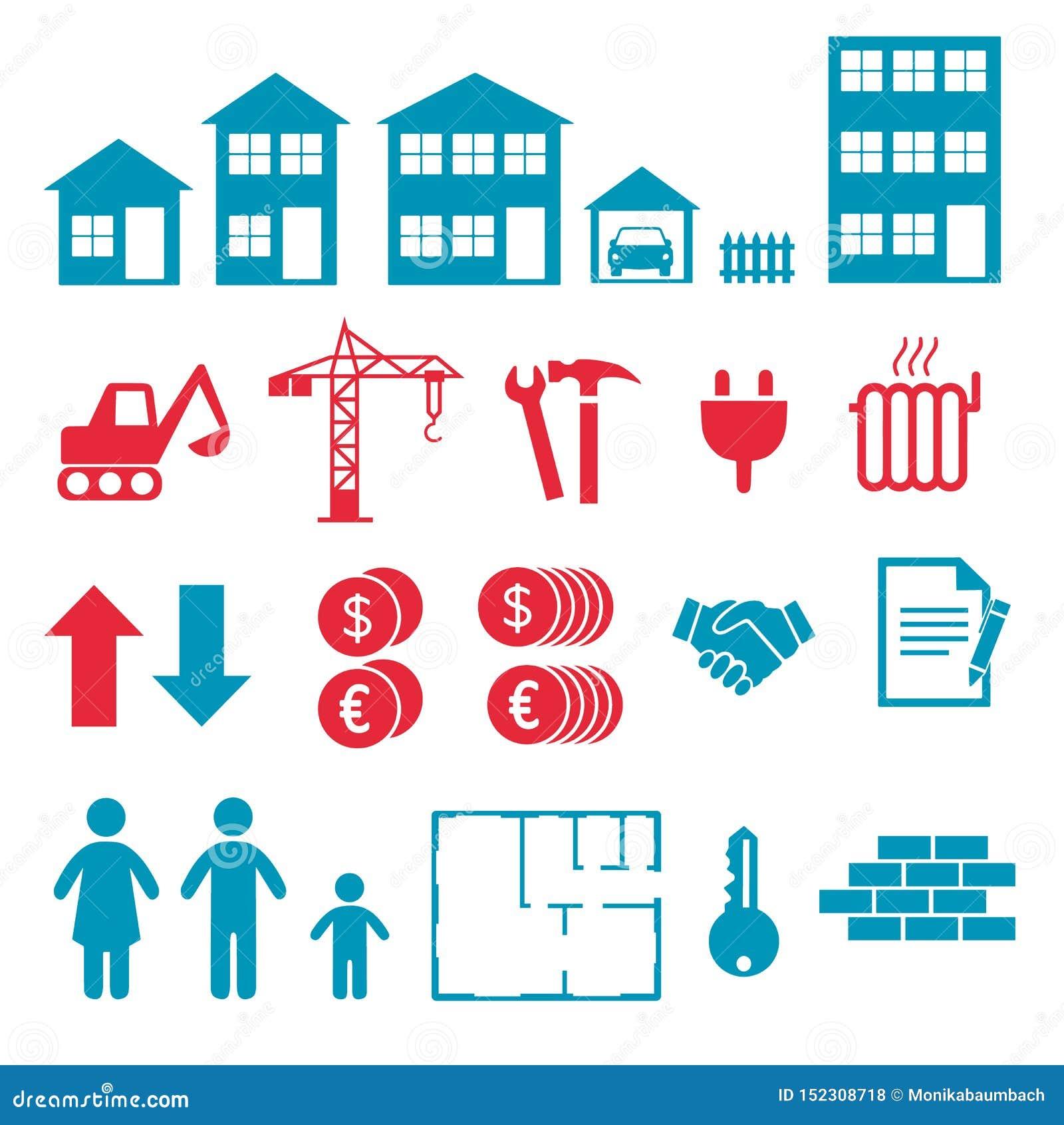 Icone di vettore per creare infographics circa la costruzione di appartamento e della casa, l acquisto e l affitto del mercato