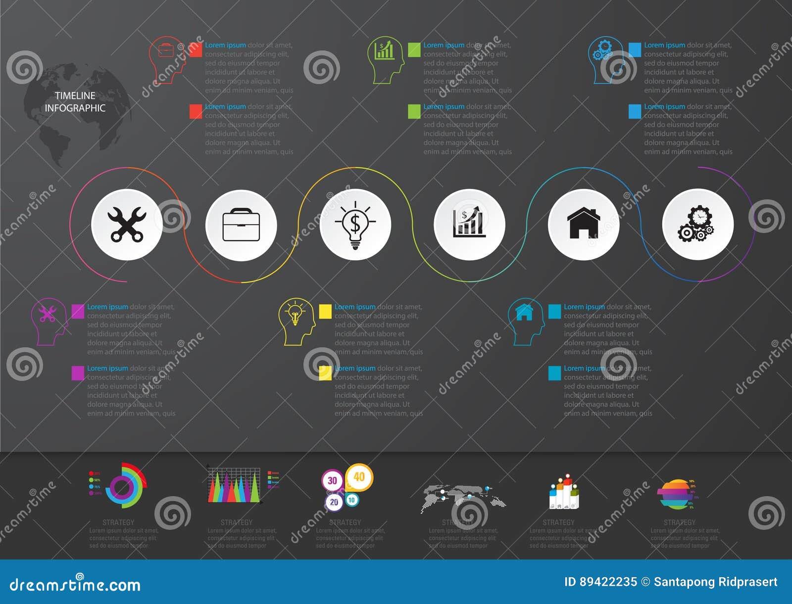 Icone e Busi di vendita di progettazione e del modello di Infographic