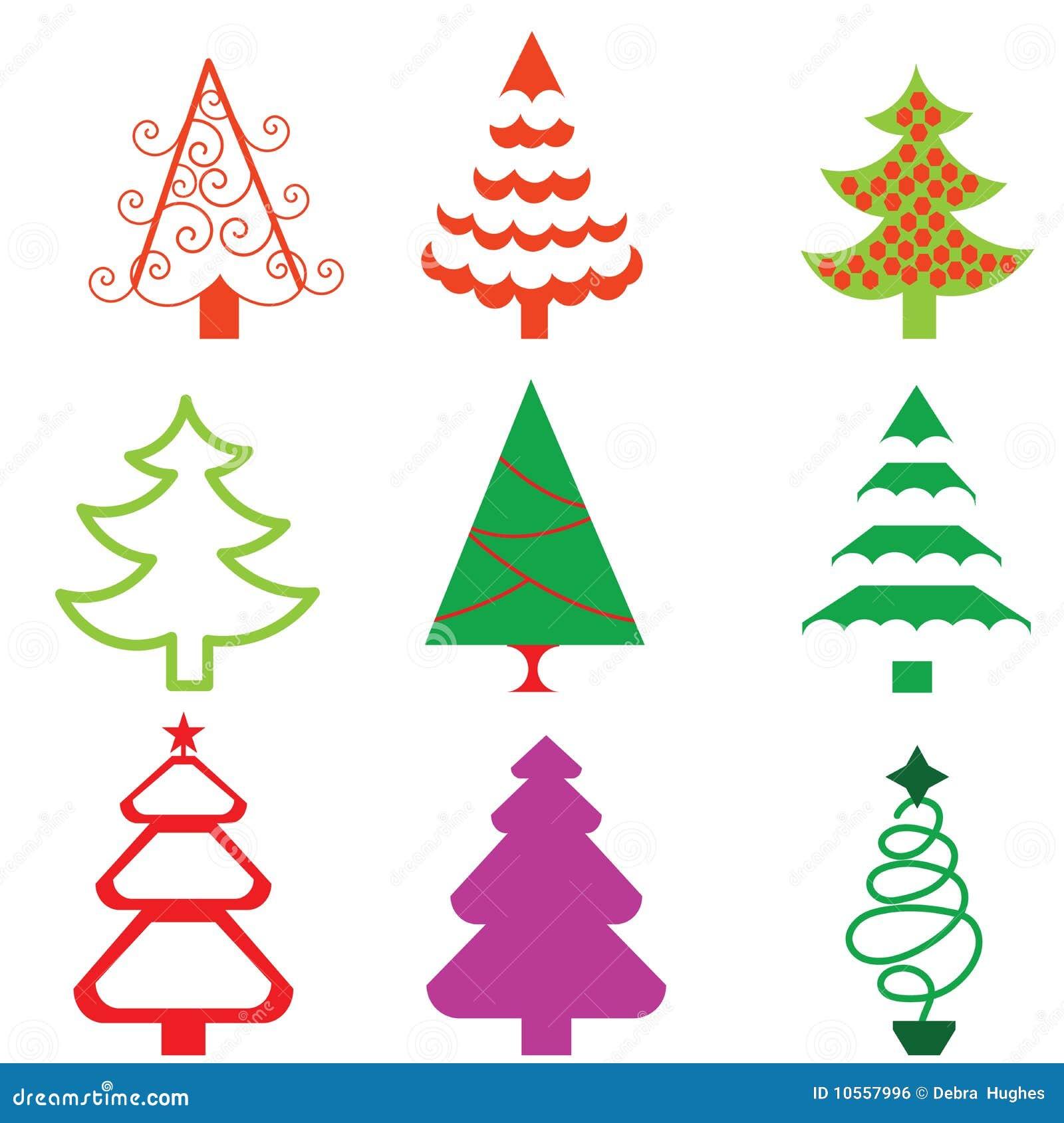 Icone Funky Stilizzate Dell Albero Di Natale Illustrazione