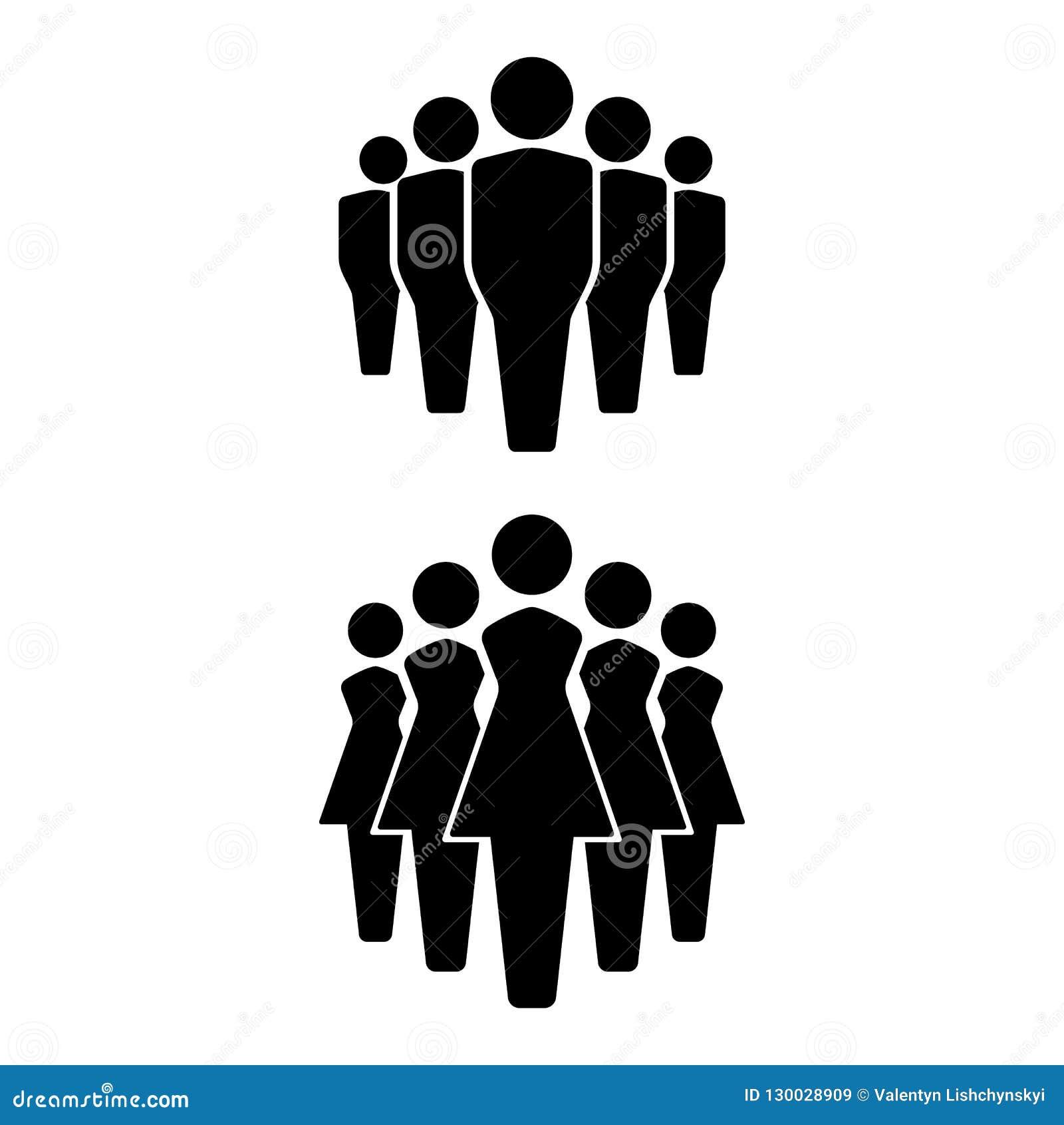 Icone insieme, icona del gruppo, gruppo di persone della gente Uomini e donne