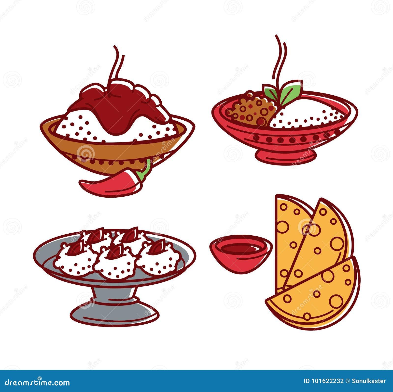 Icone isolate piano tradizionale indiano di vettore dei piatti dell alimento di cucina messe