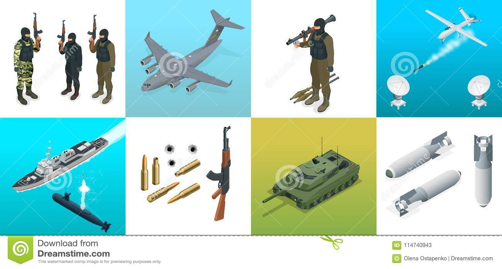 Icone isometriche sottomarino, aereo, soldati Insieme di trasporto piano dei veicoli militari di alta qualità dell attrezzatura m