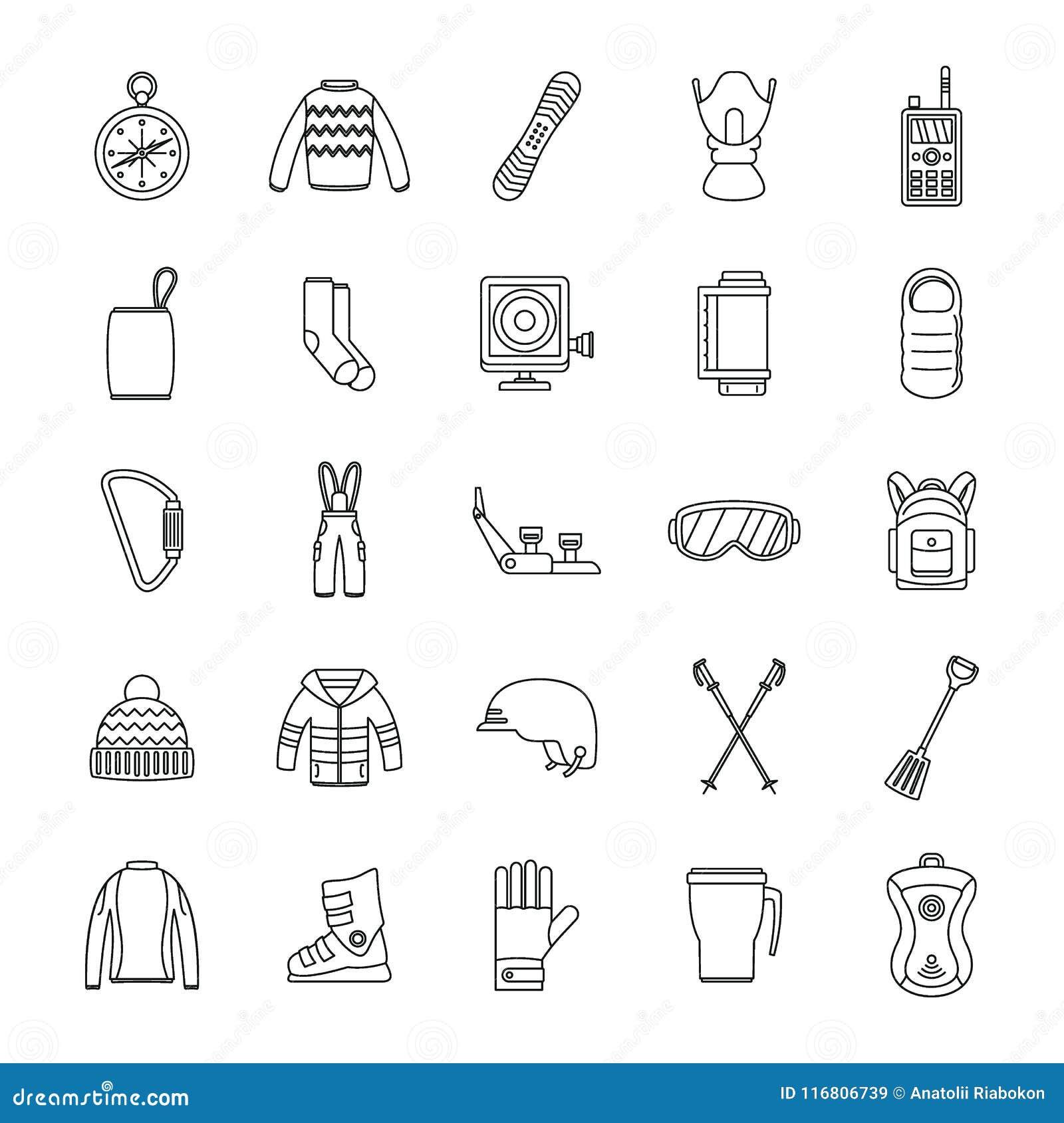 Icone messe, stile dell attrezzatura dello snowboard del profilo
