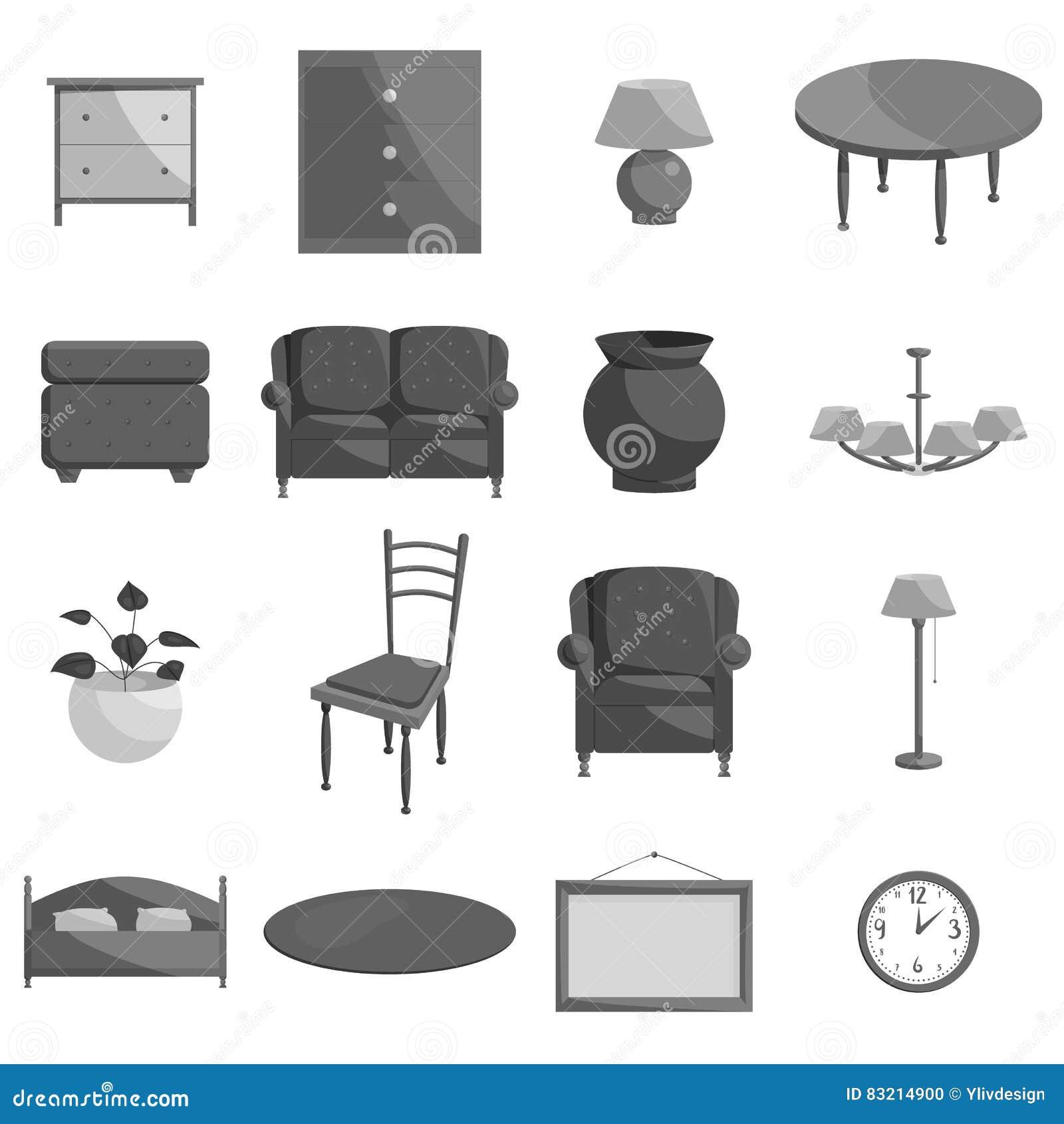 Icone messe stile monocromatico nero della mobilia for Mobilia spazio