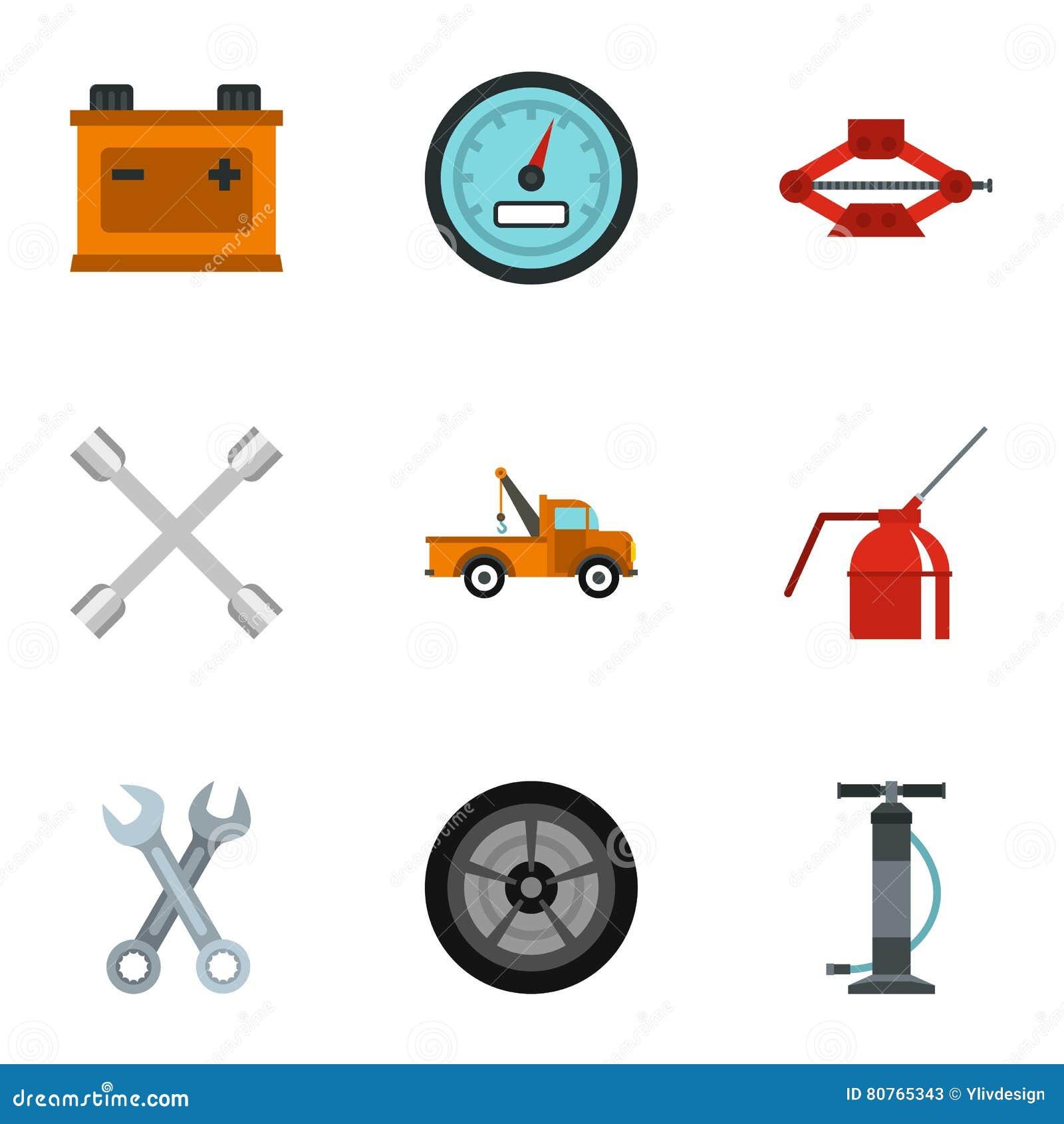 icone messe stile piano del garage illustrazione