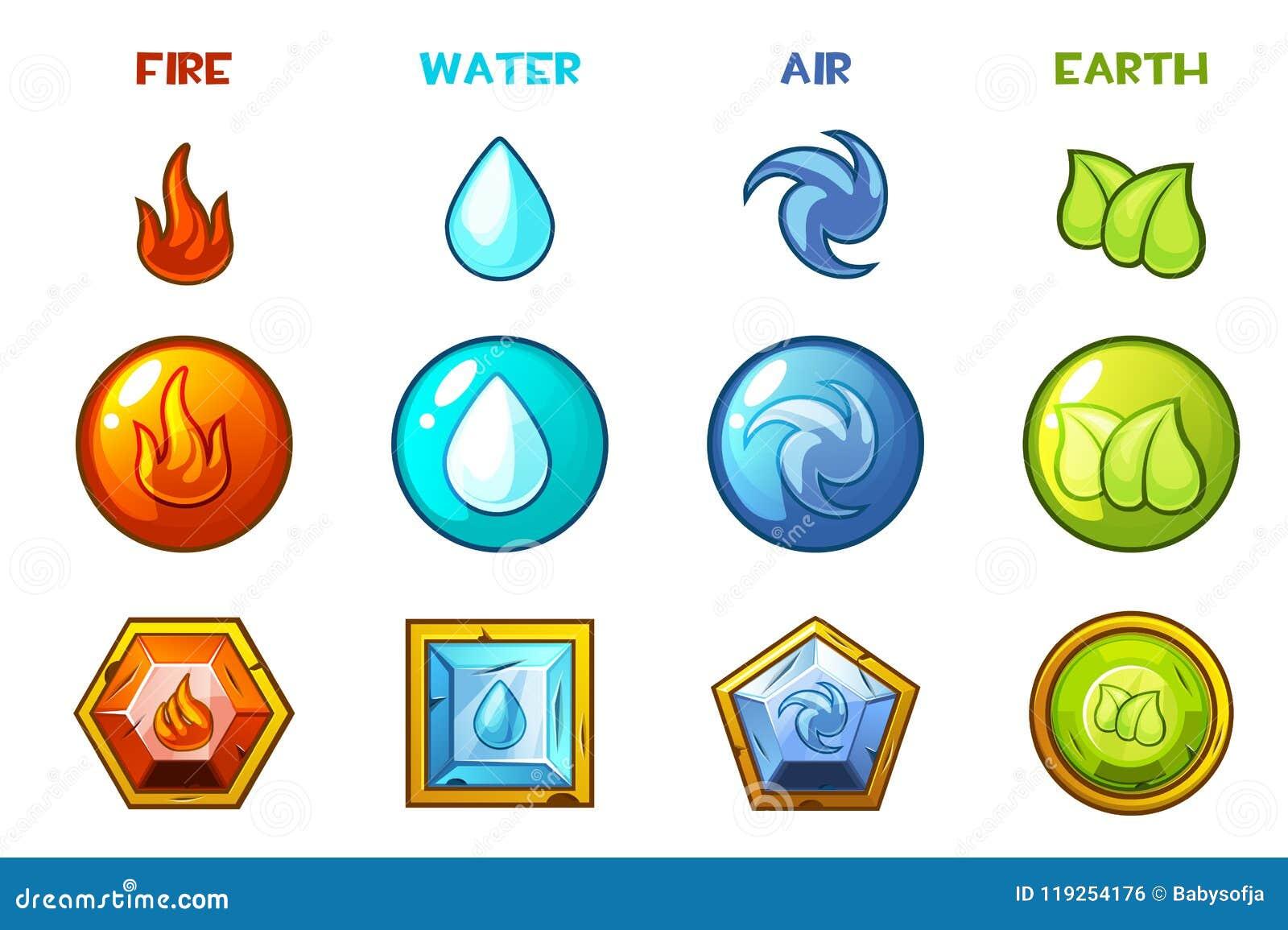 Icone naturali degli elementi del fumetto quattro - terra, acqua, fuoco ed aria