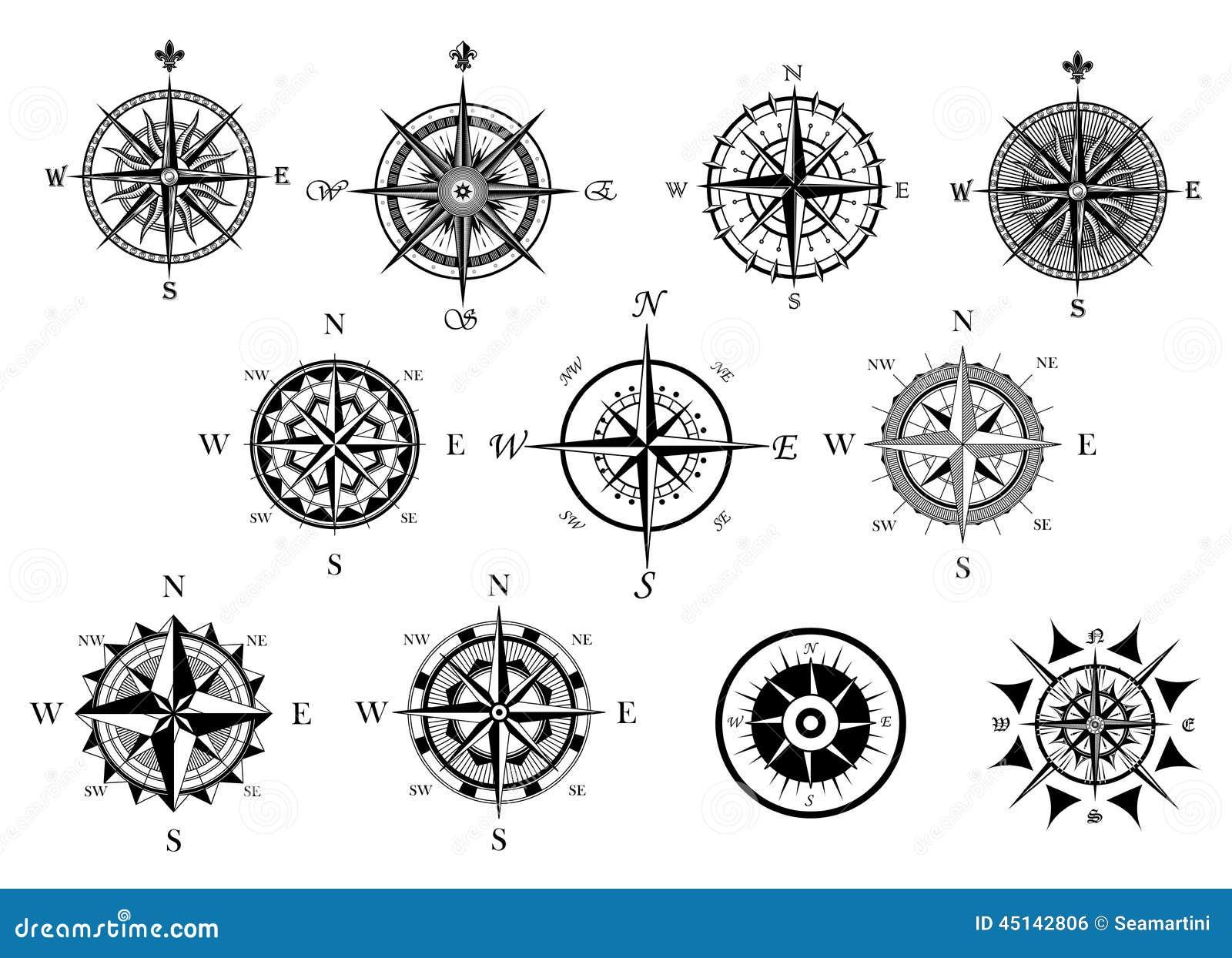 Icone nautiche della bussola e della rosa dei venti messe