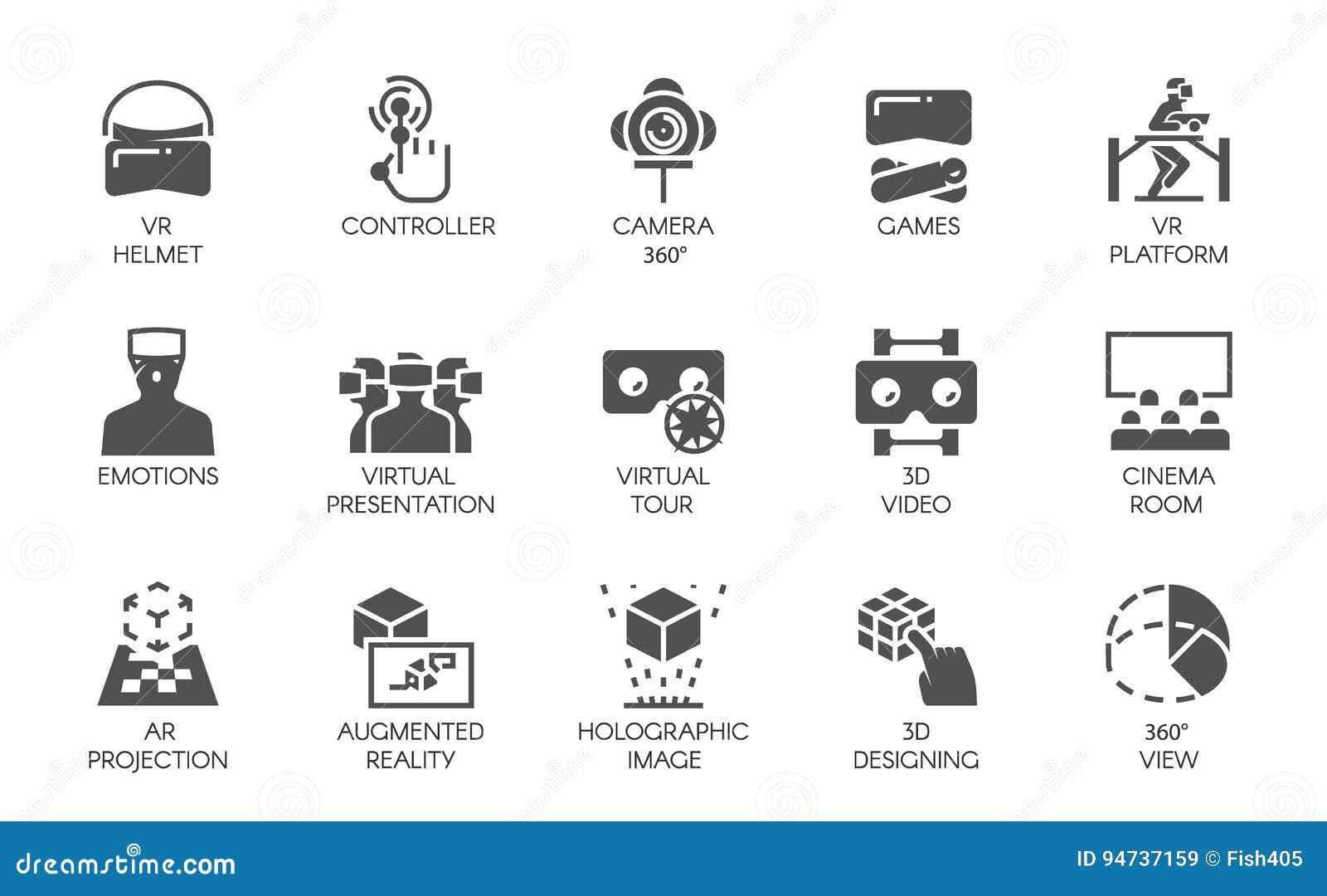 15 icone nello stile piano di tecnologia digitale aumentata dell AR di realtà Concetto futuristico di tecnologia Etichette di vet