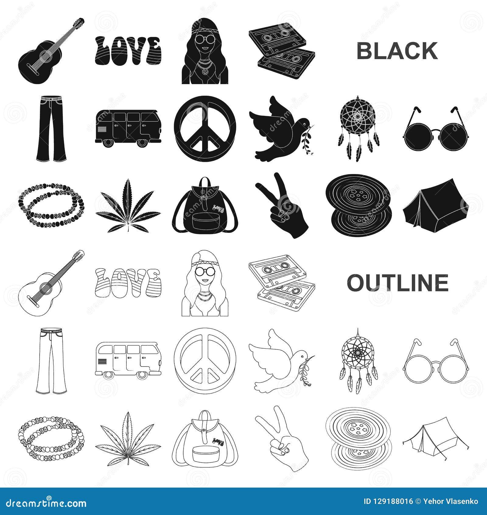 Icone nere di attributo e felici nella raccolta dell insieme per progettazione Felice ed accessori vector l illustrazione di rise