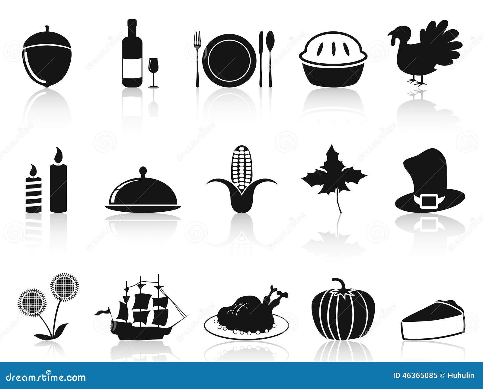 Icone nere di ringraziamento messe
