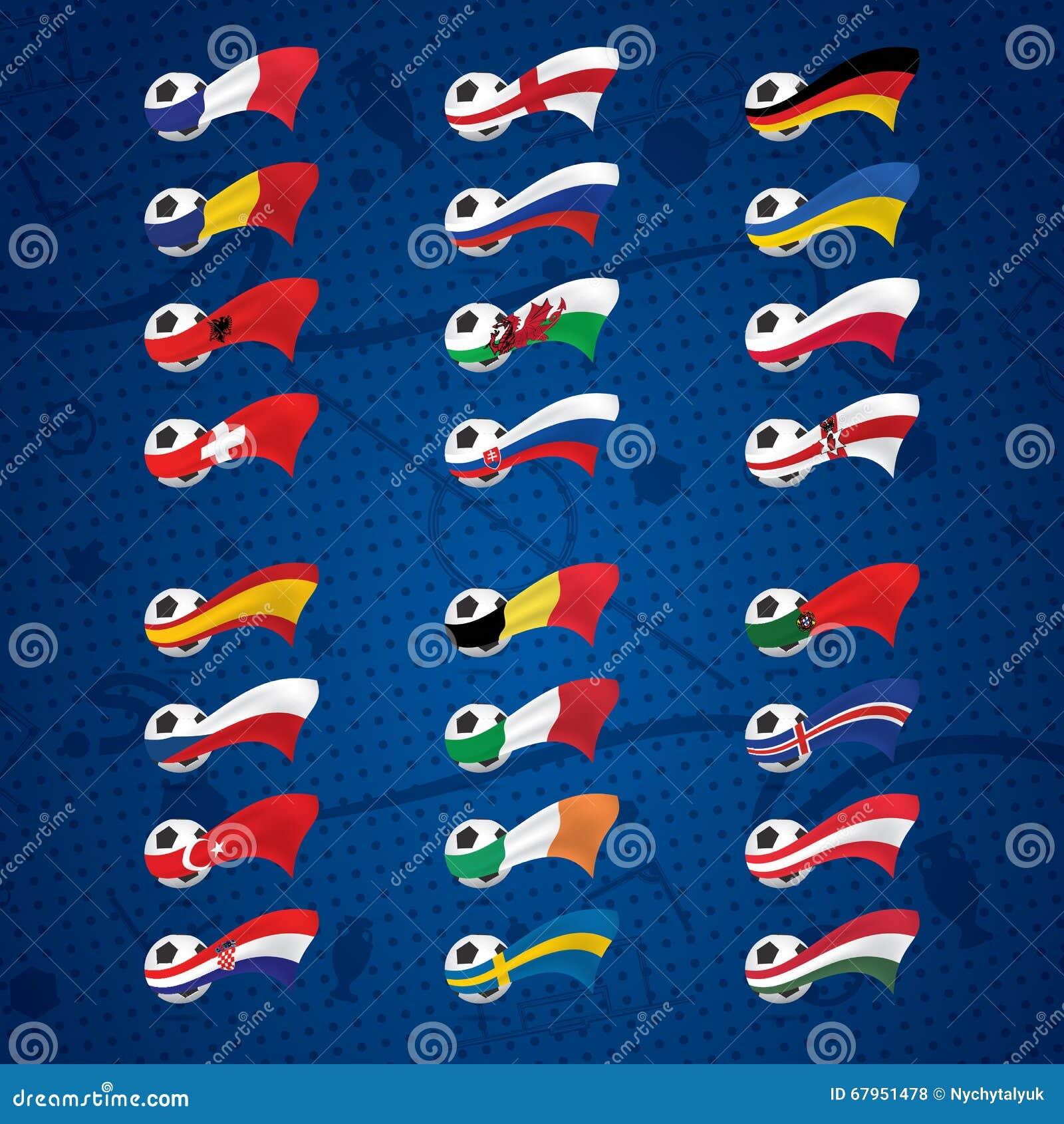 Icone o distintivi con le palle e le bandiere dei paesi for Antifurto con le palle