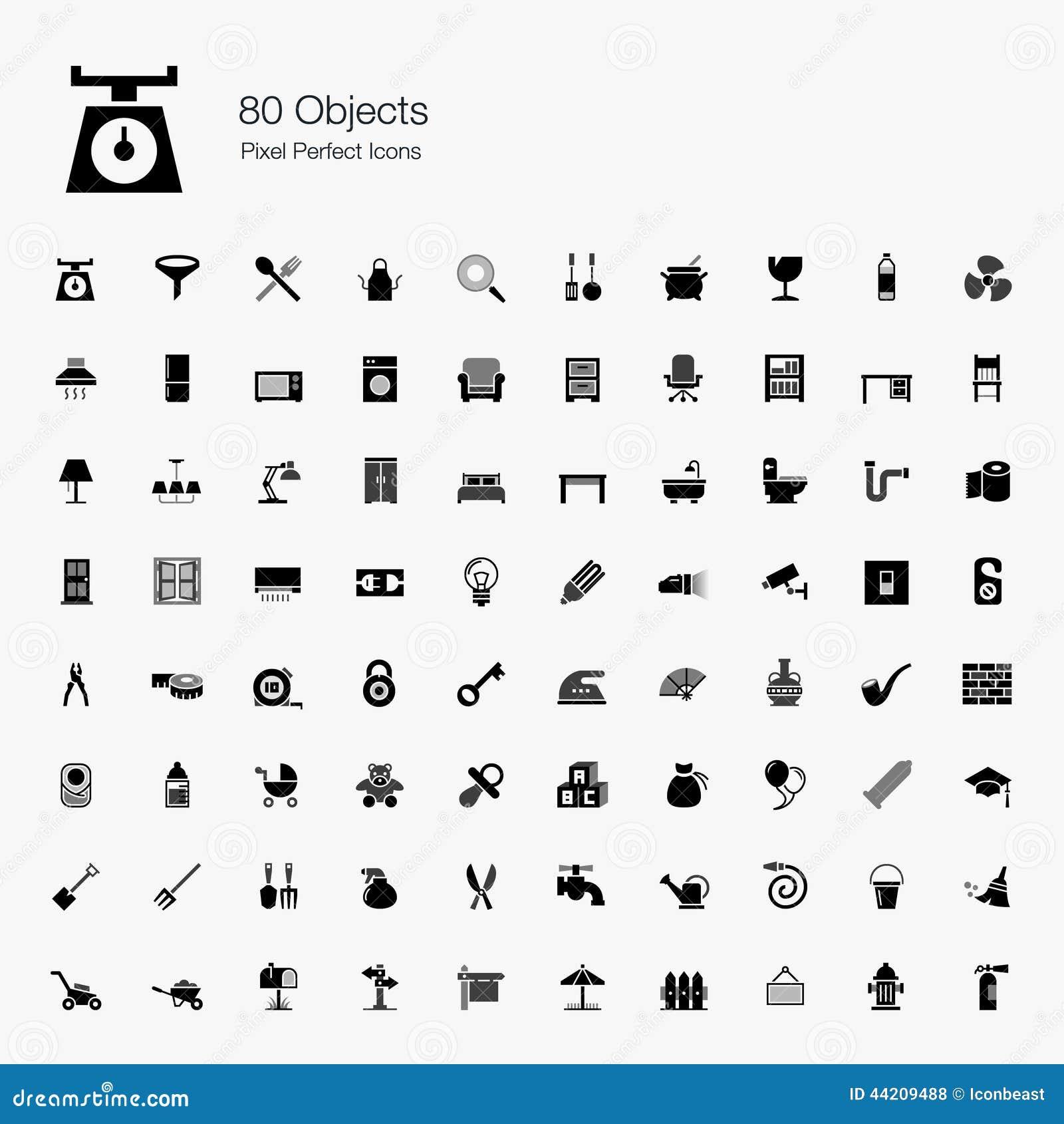 80 icone perfette del pixel degli oggetti
