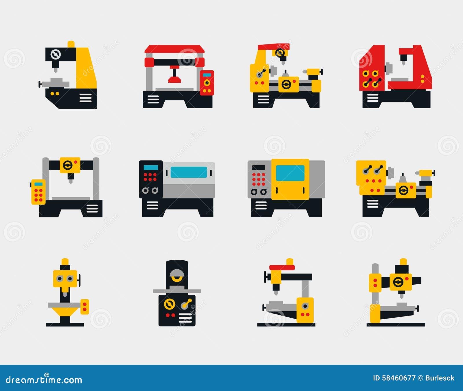 Icone piane delle unità e delle macchine del trasportatore