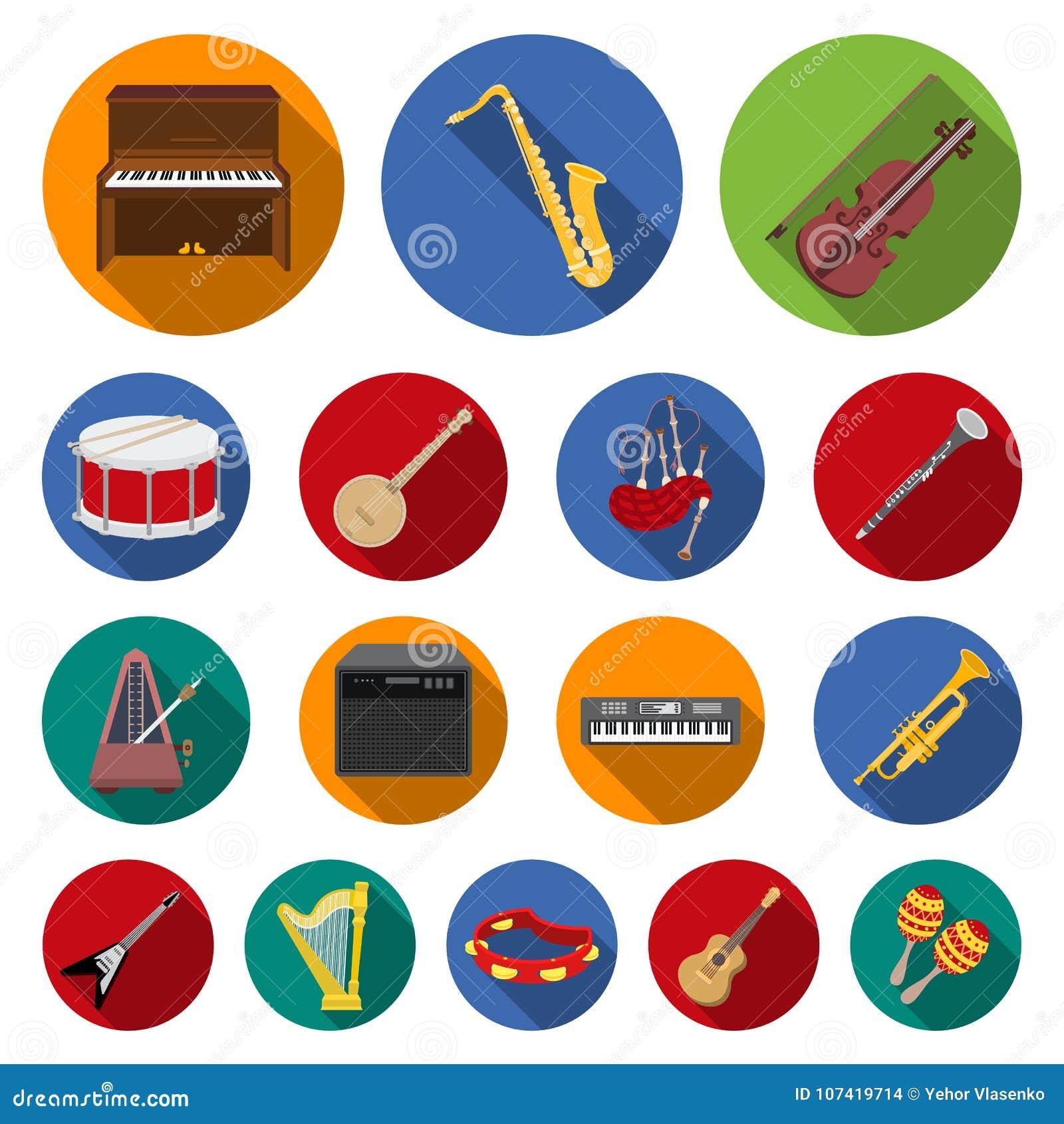 Icone piane dello strumento musicale nella raccolta dell insieme per progettazione Lo strumento di vento e della corda vector il