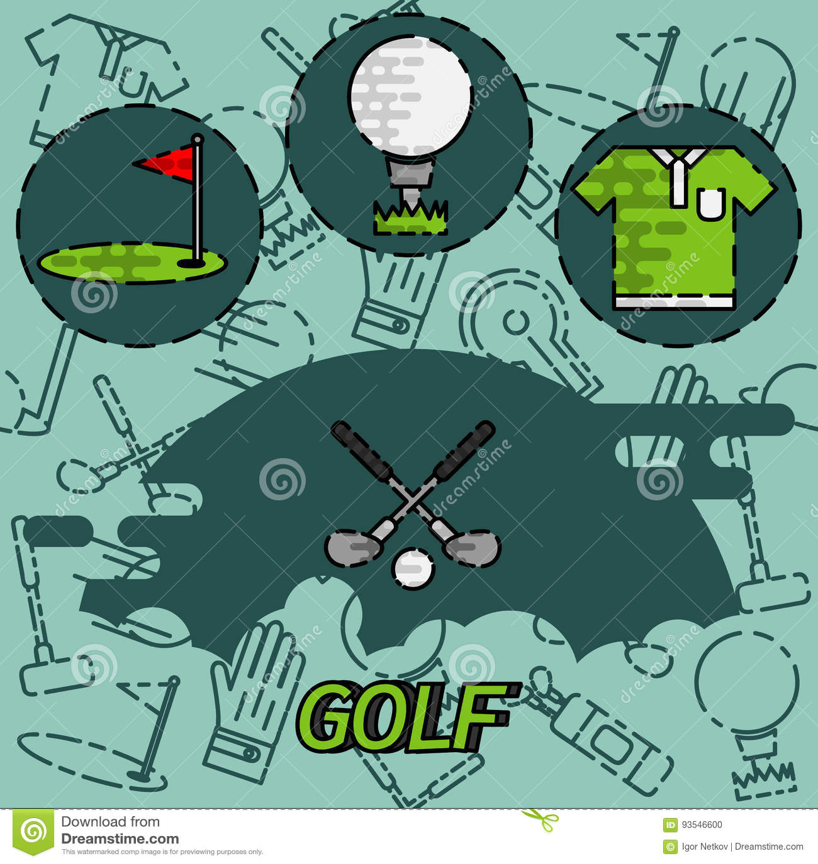 Icone piane di concetto di golf