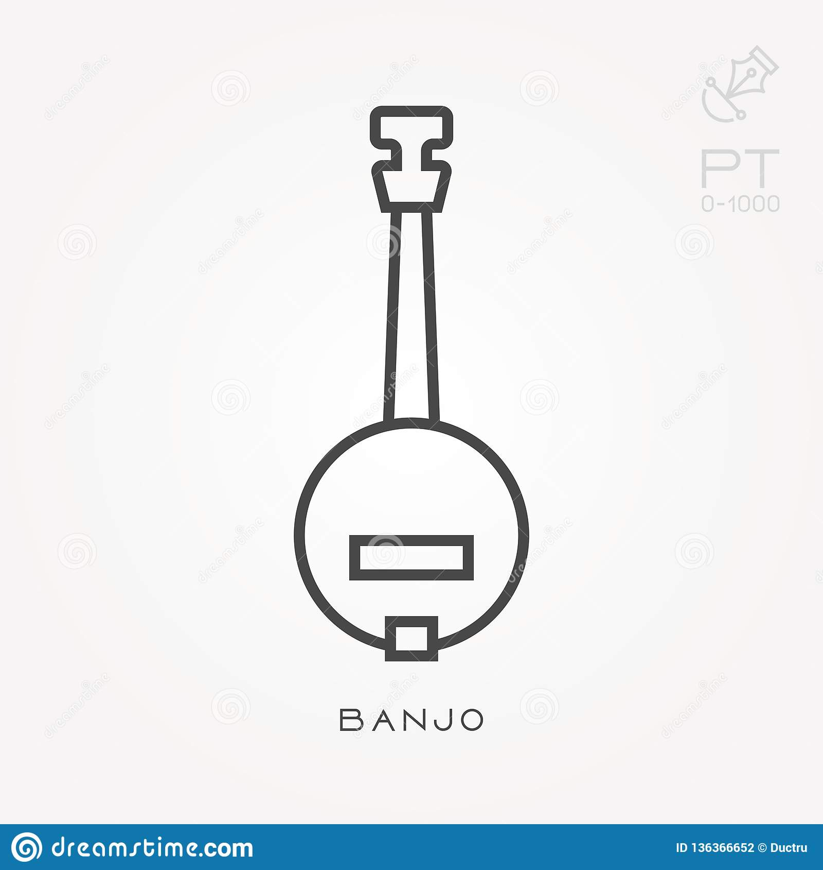 Icone piane di vettore con il banjo