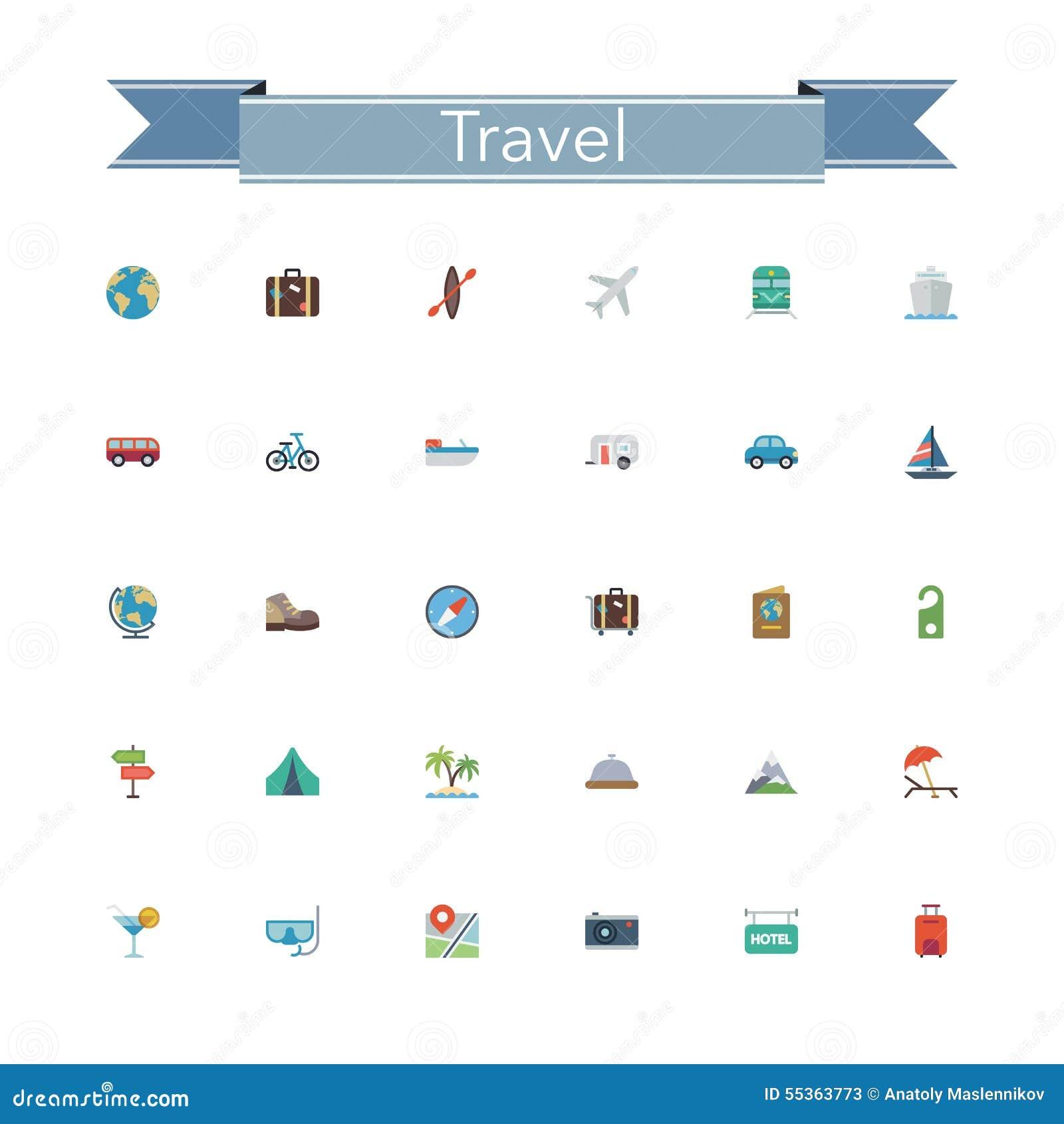 Icone piane di viaggio