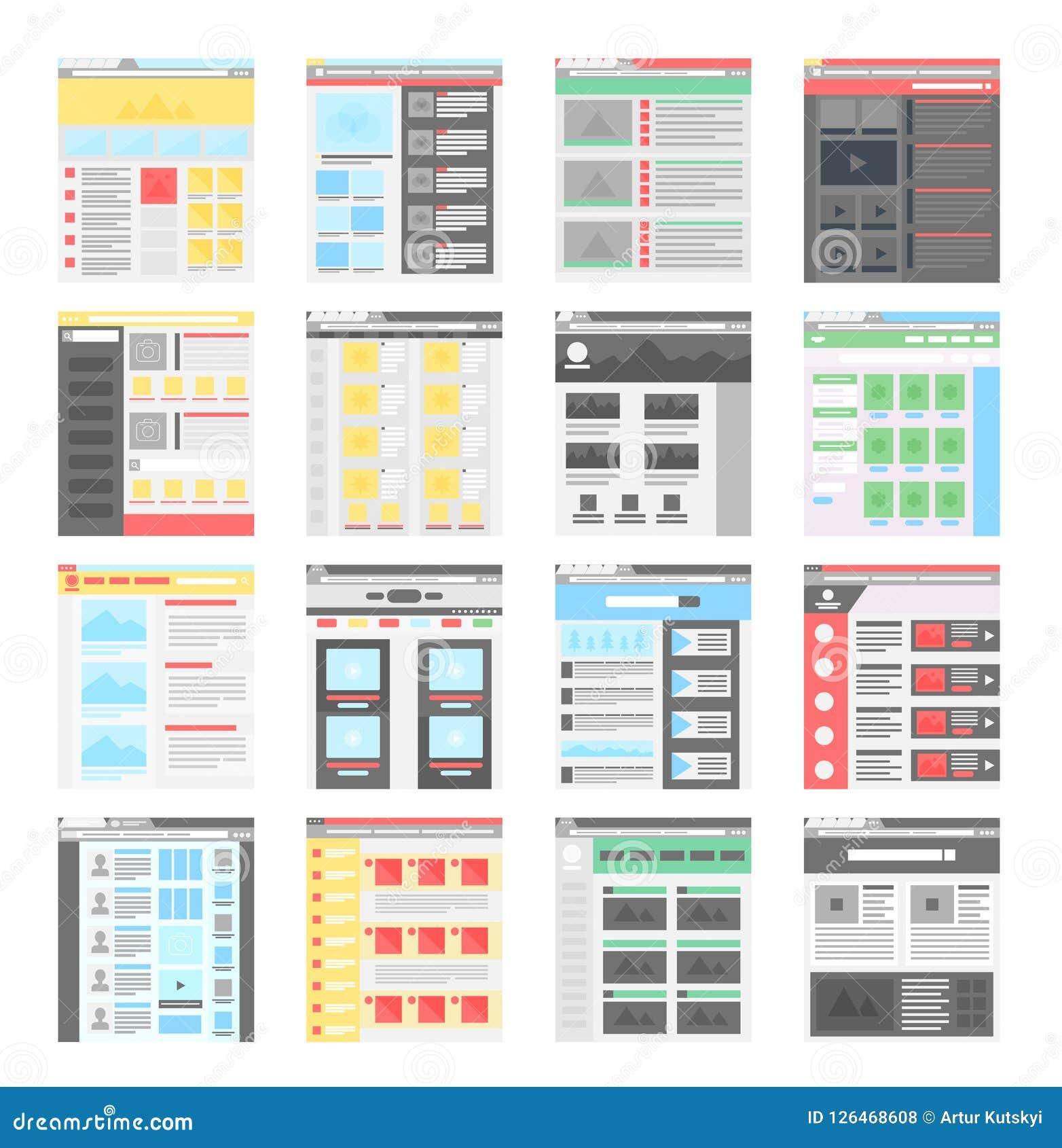 Icone piane semplici dei modelli di progettazione del sito Web di vettore messe