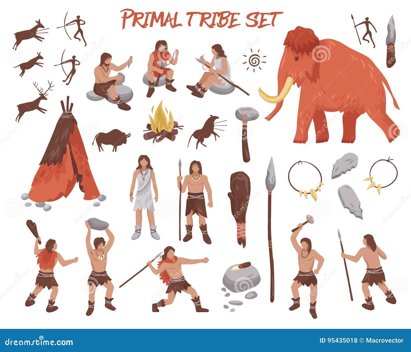 Icone principali della gente della tribù messe