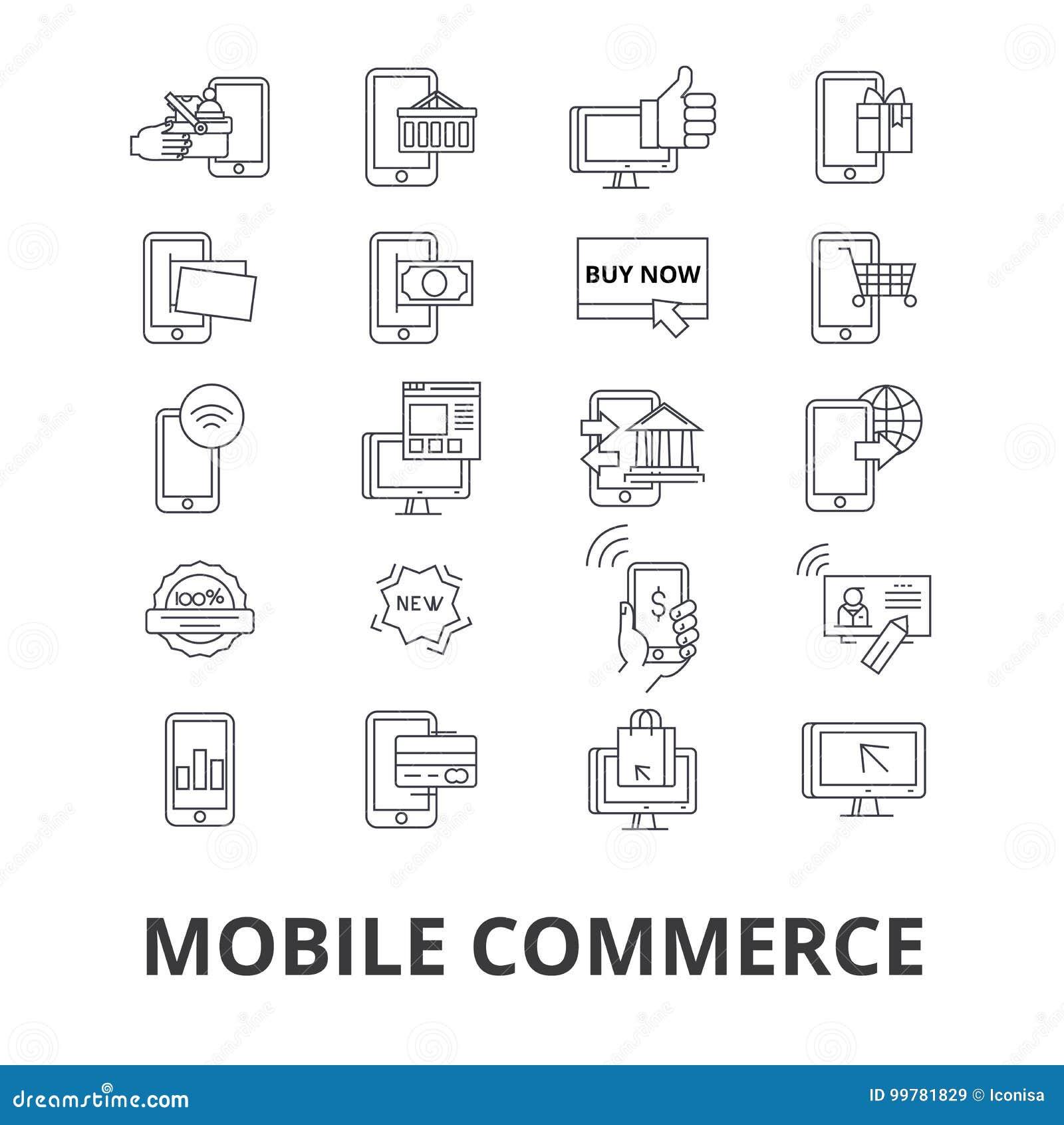 Icone relative di commercio mobile