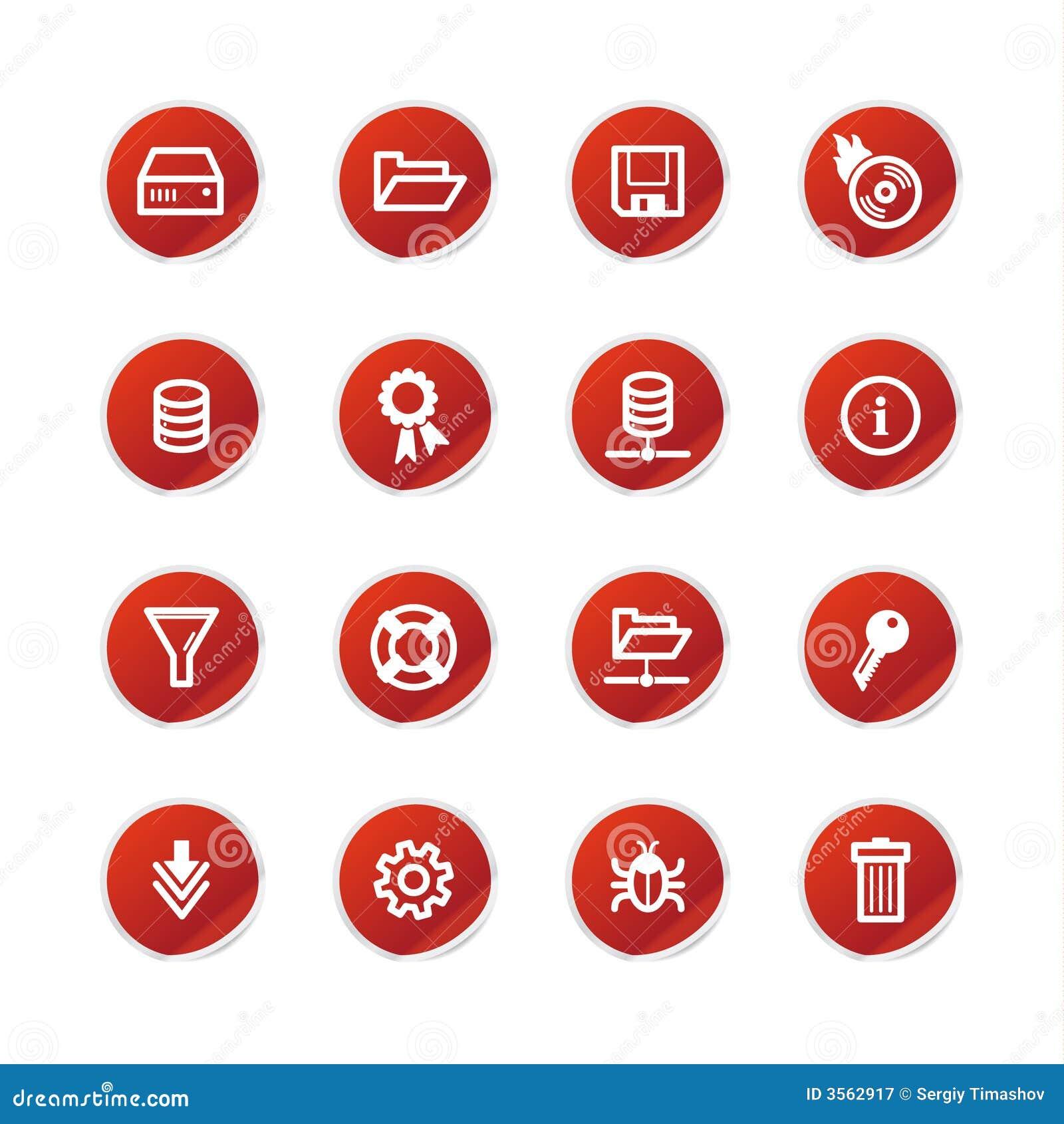 Icone rosse del server dell autoadesivo