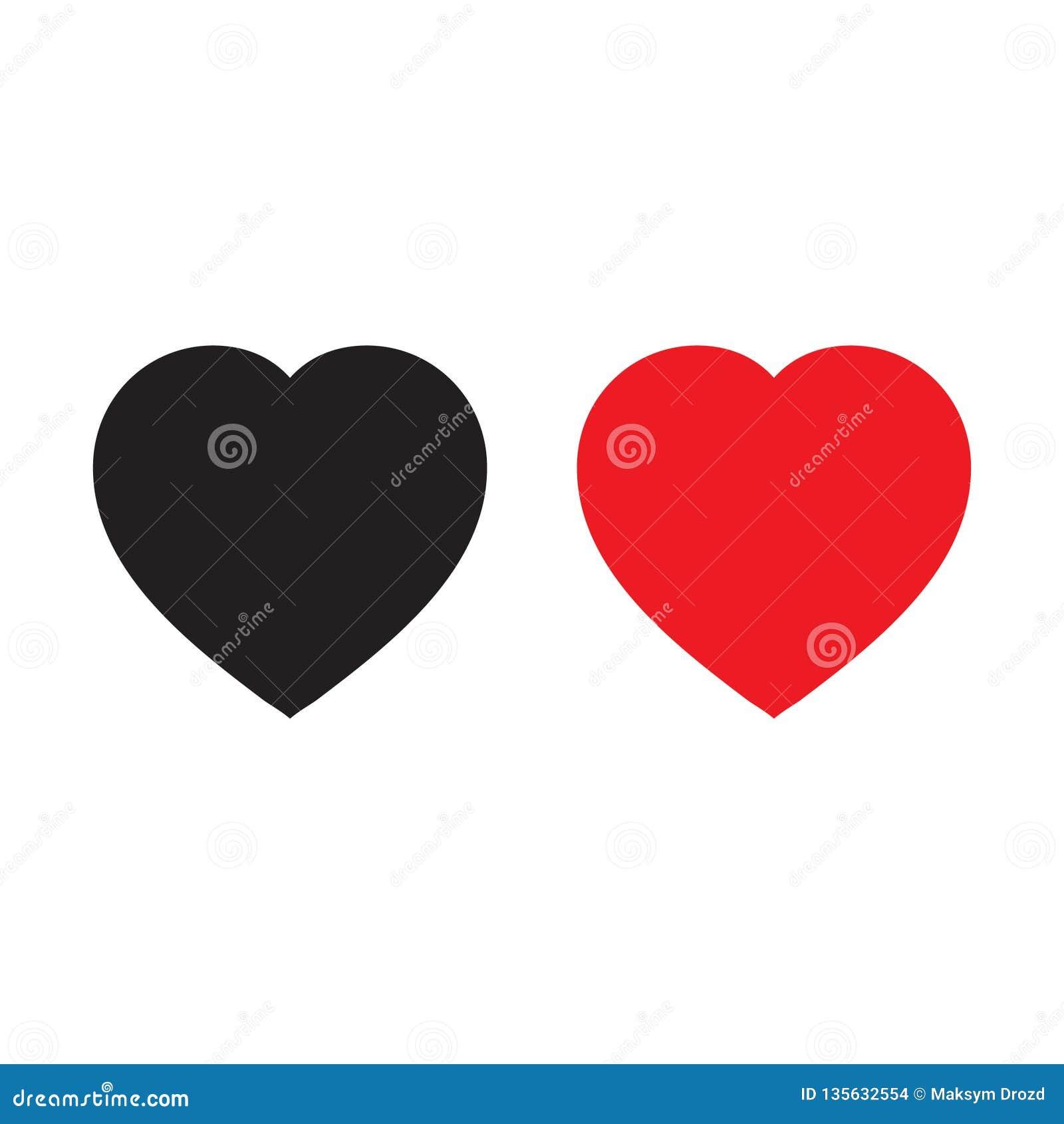 Icone rosse e nere del cuore, icona di amore