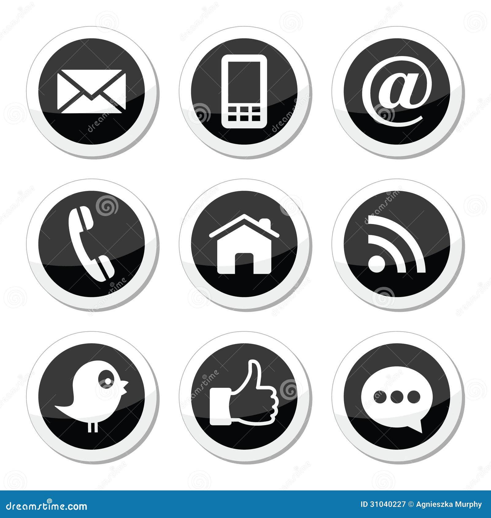 Icone rotonde di media del contatto, di web, del blog e del sociale - cinguettio, facebook, rss