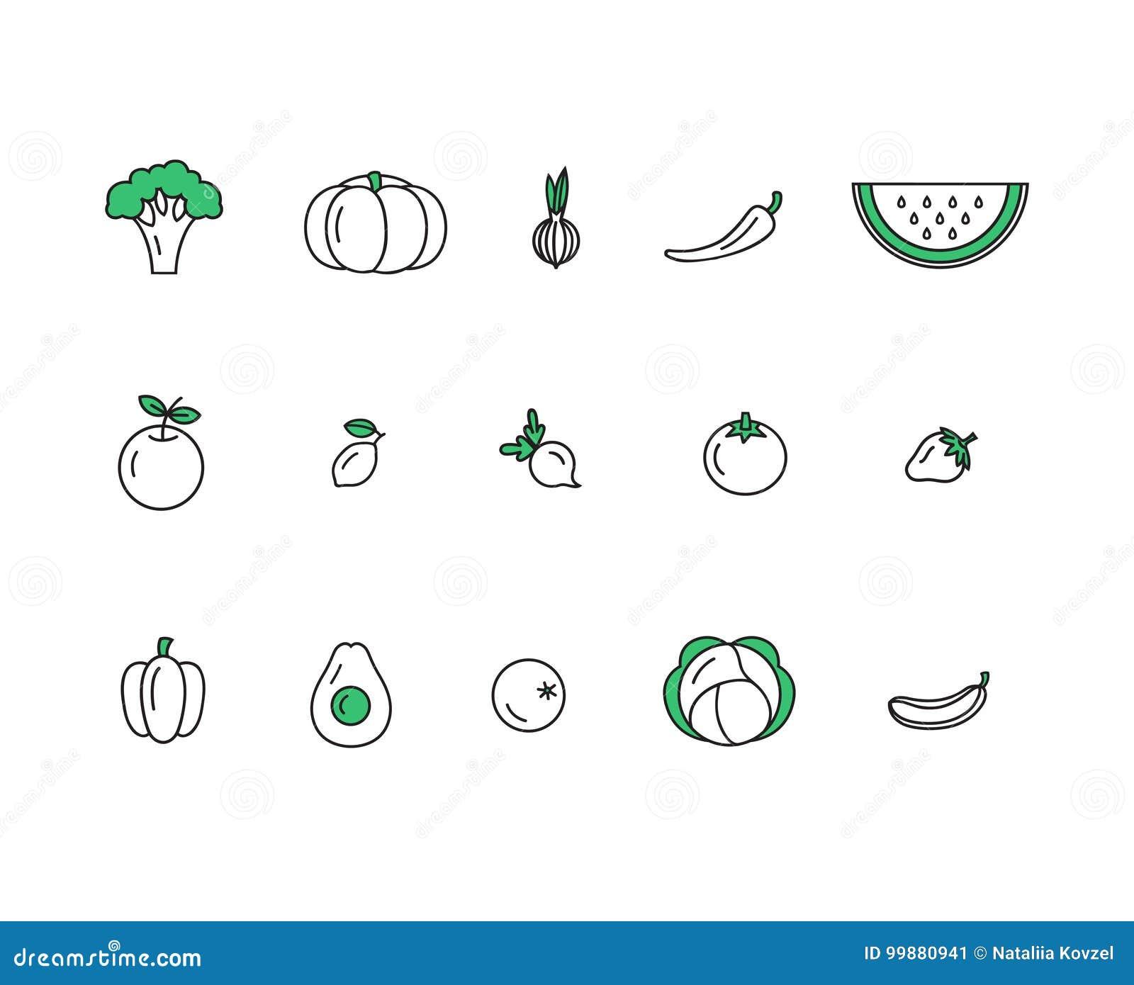 Icone sane fresche della verdura e della frutta fatte nella linea d avanguardia vettore di stile