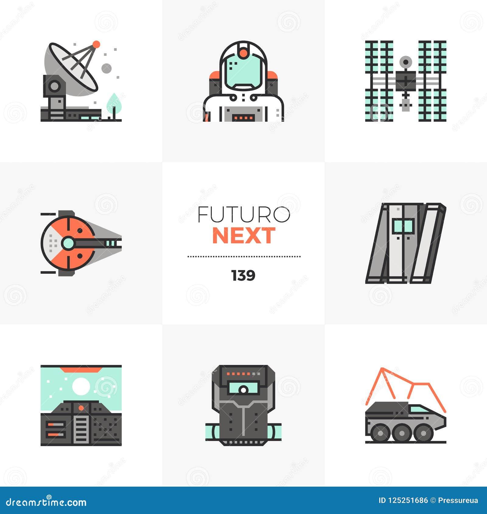 Icone seguenti di Futuro di missione spaziale