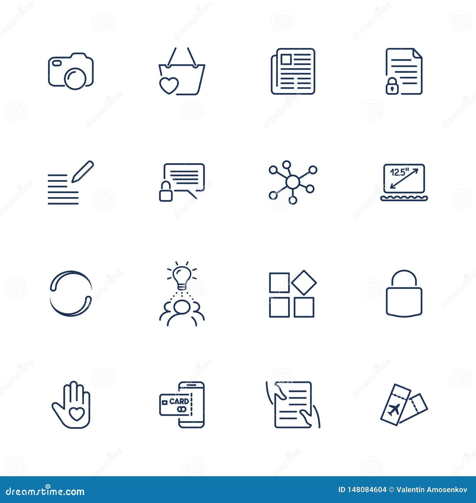 Icone semplici per il app, siti, programmi di UI Icone differenti di UI Pittogrammi semplici su fondo bianco