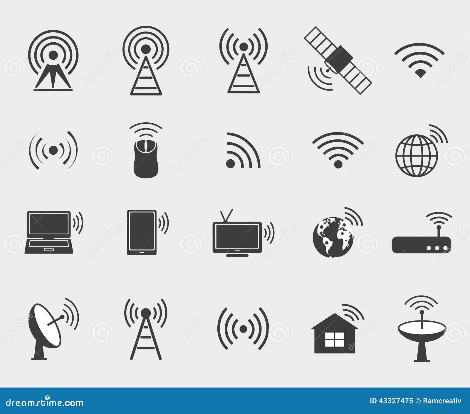Icone senza fili nere Metta le icone per accesso ed il Ra di controllo di wifi